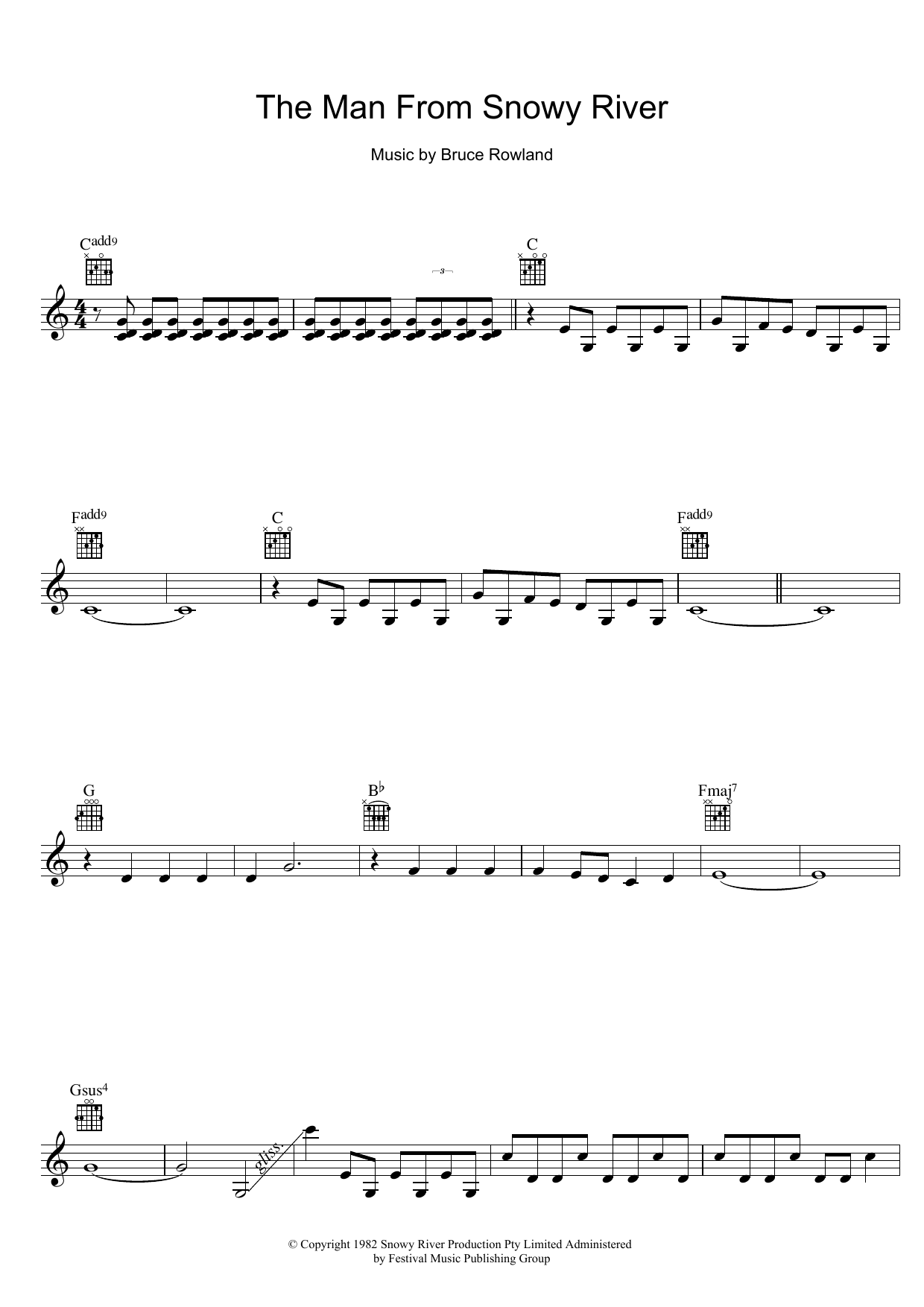 The Man From Snowy River (Title Theme) (Lead Sheet / Fake Book)