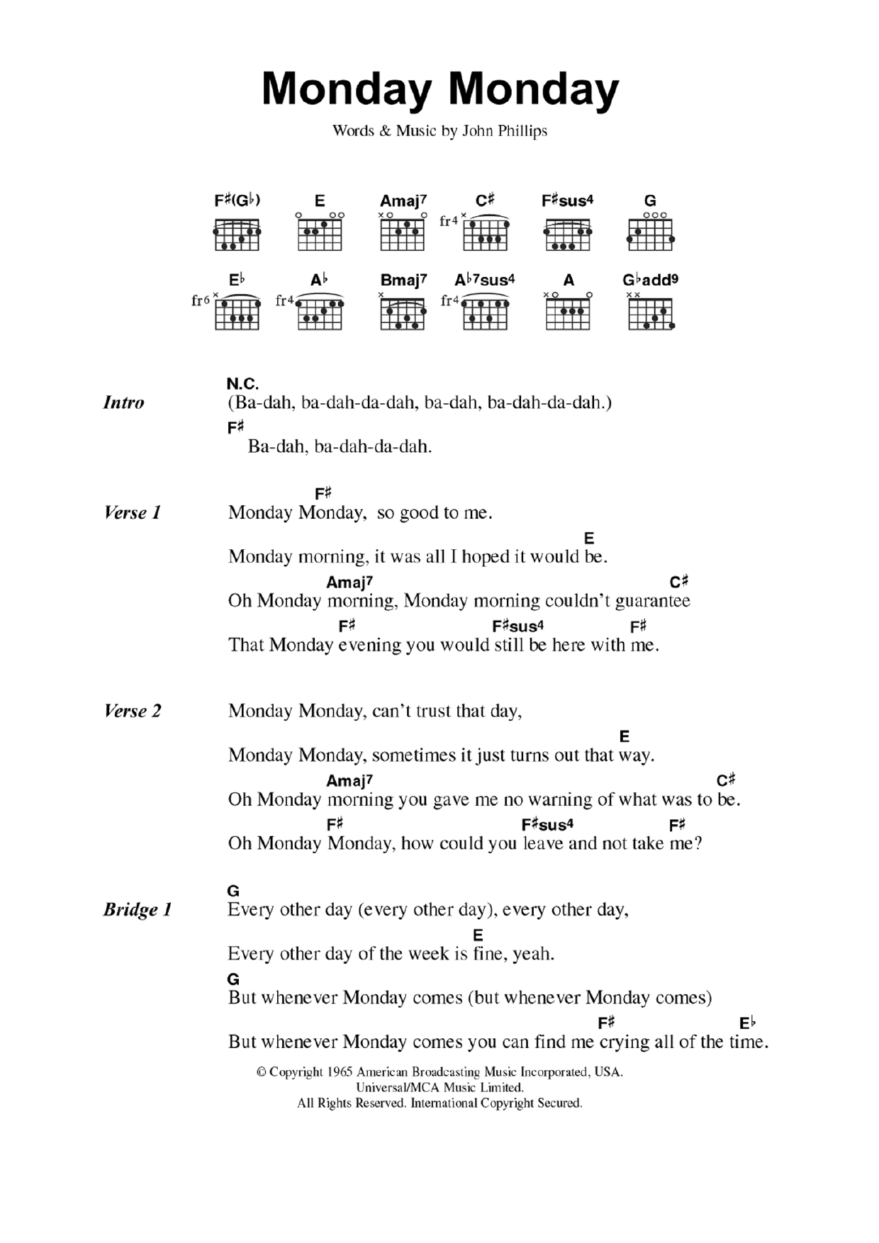 Monday Monday Sheet Music