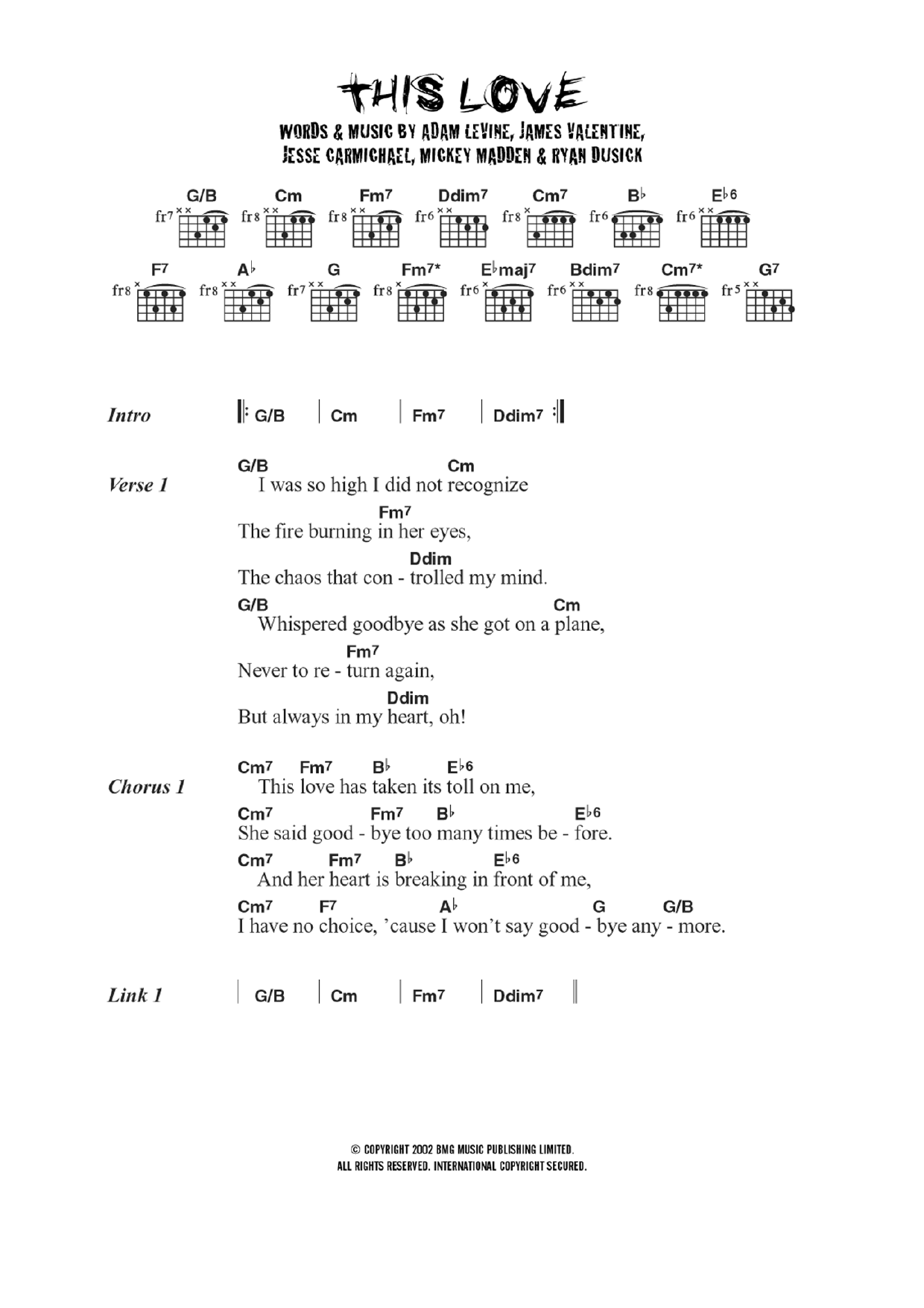 This Love   Sheet Music to Download