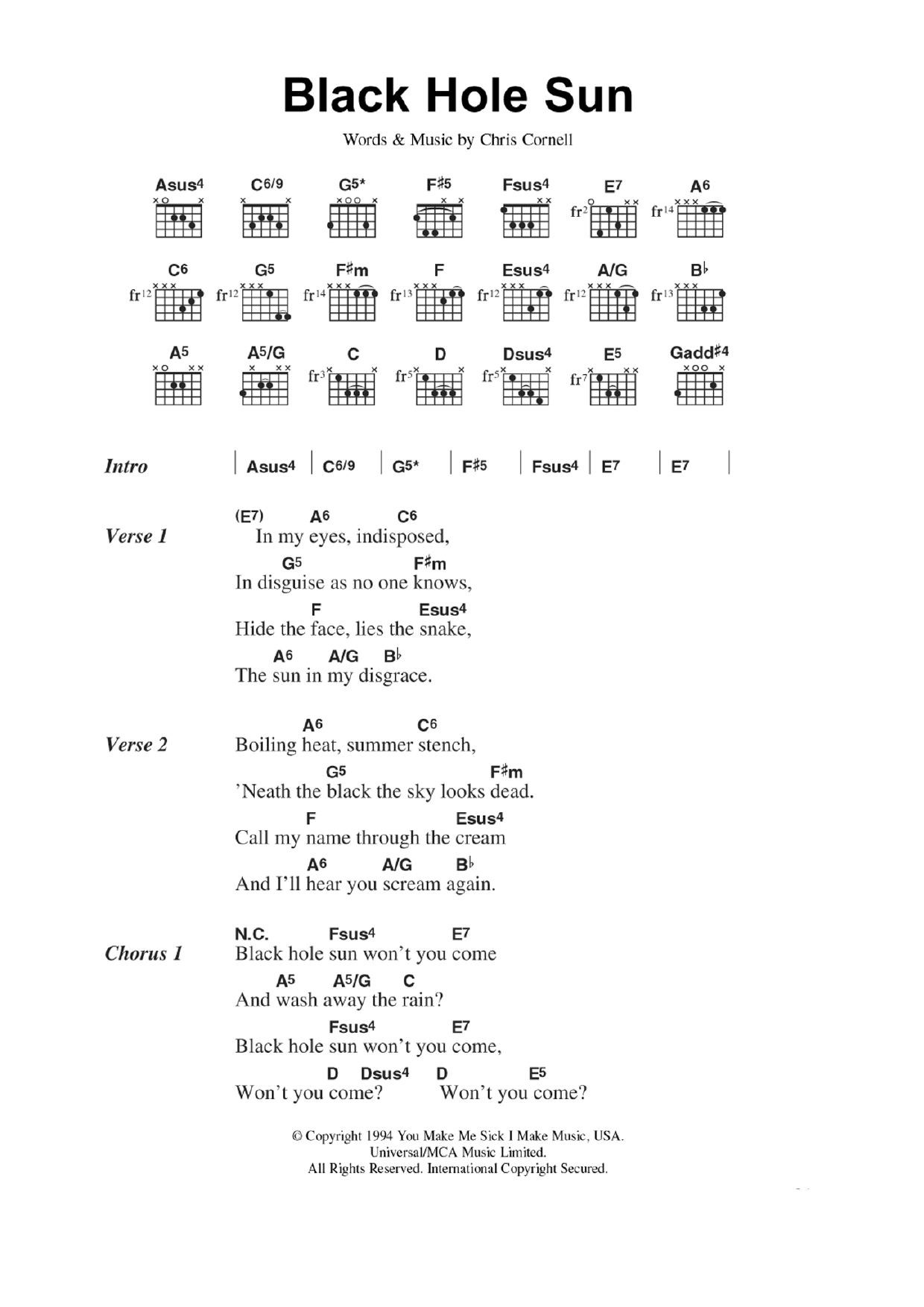 Black Hole Sun by Soundgarden - Guitar Chords/Lyrics ...