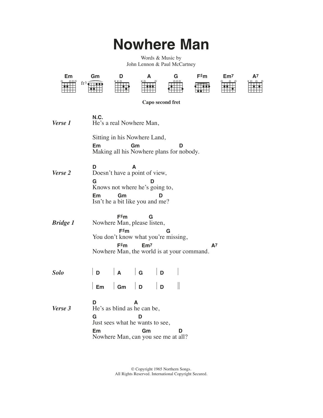 Nowhere Man Sheet Music The Beatles Lyrics Chords