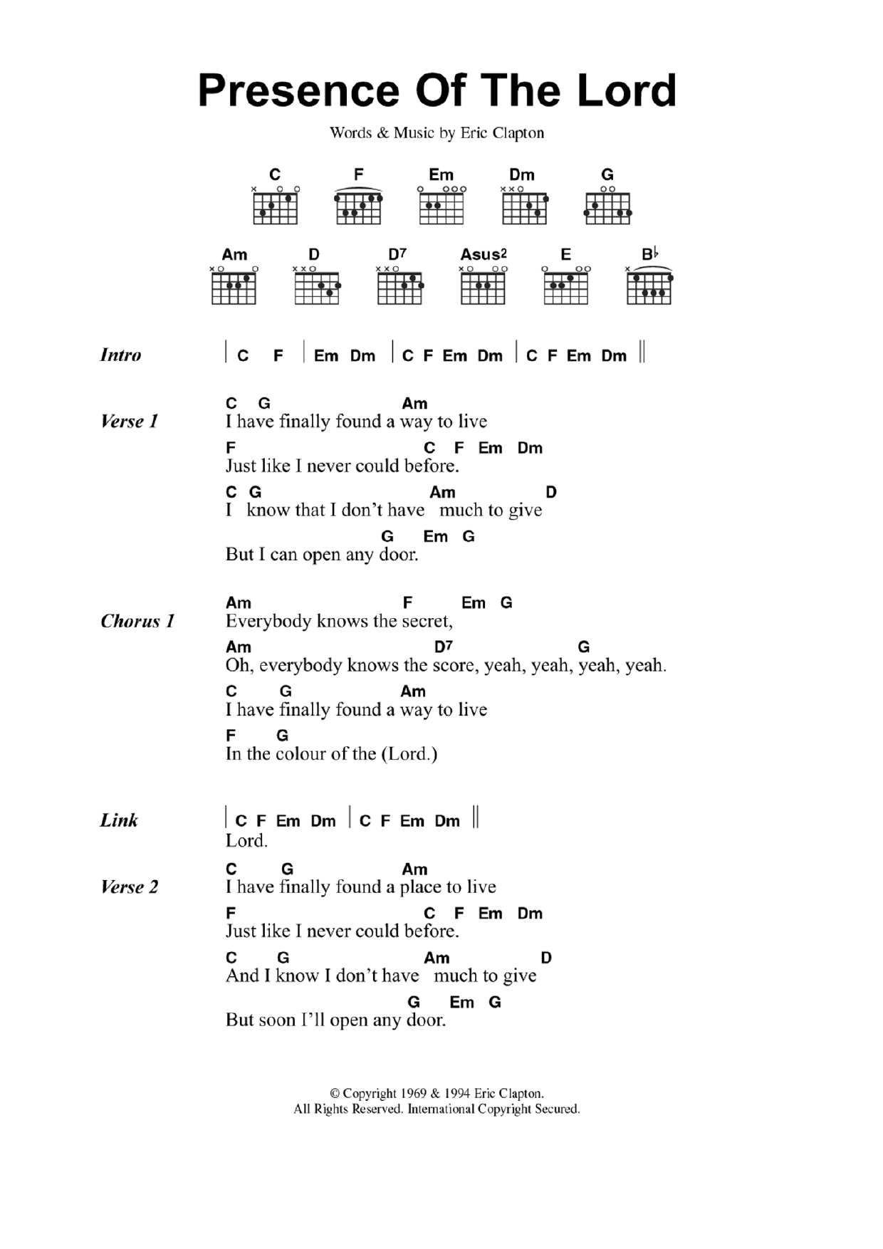 Presence Of The Lord By Eric Clapton Guitar Chordslyrics Guitar