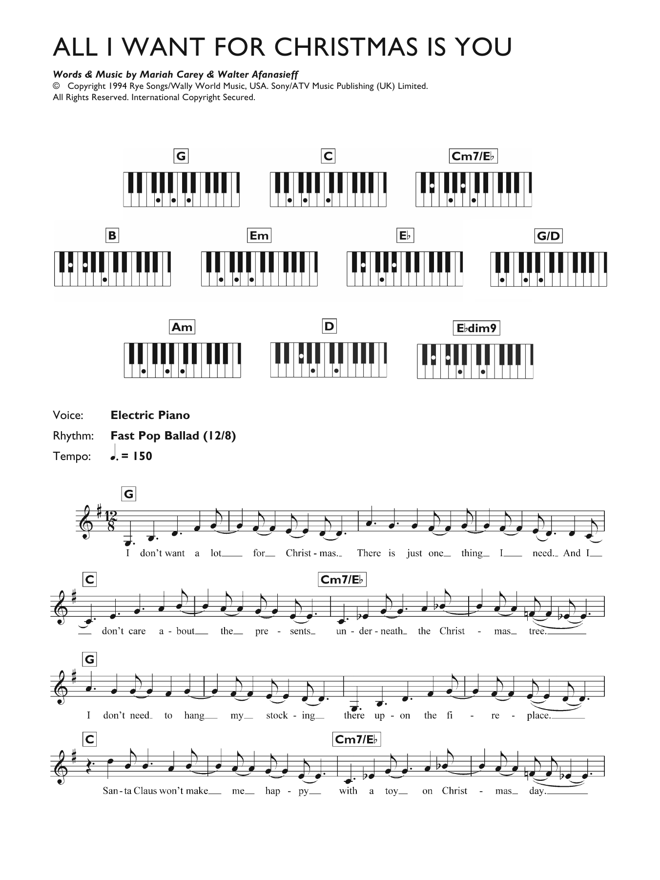 All I Want For Christmas Is You Piano Sheet Music With Letters.All I Want For Christmas Is You Sheet Music Mariah Carey