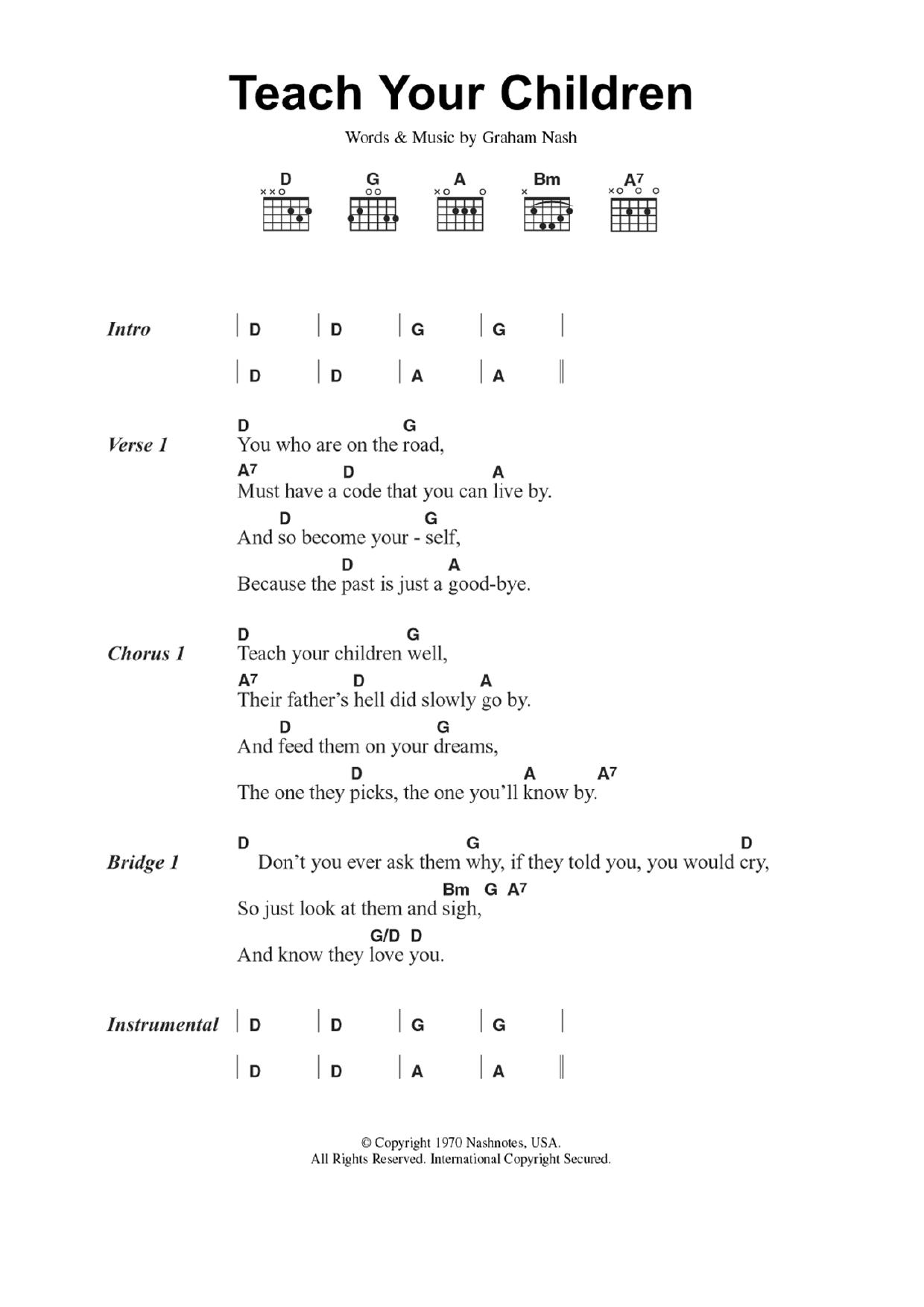 Teach Your Children Sheet Music