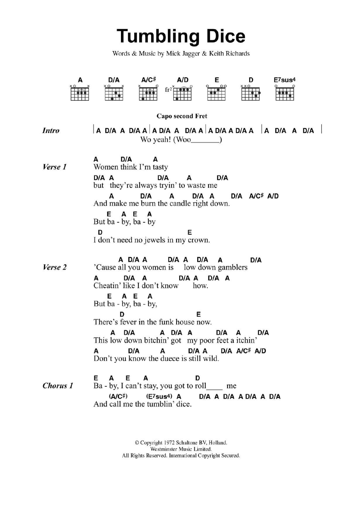 Tumbling Dice Sheet Music