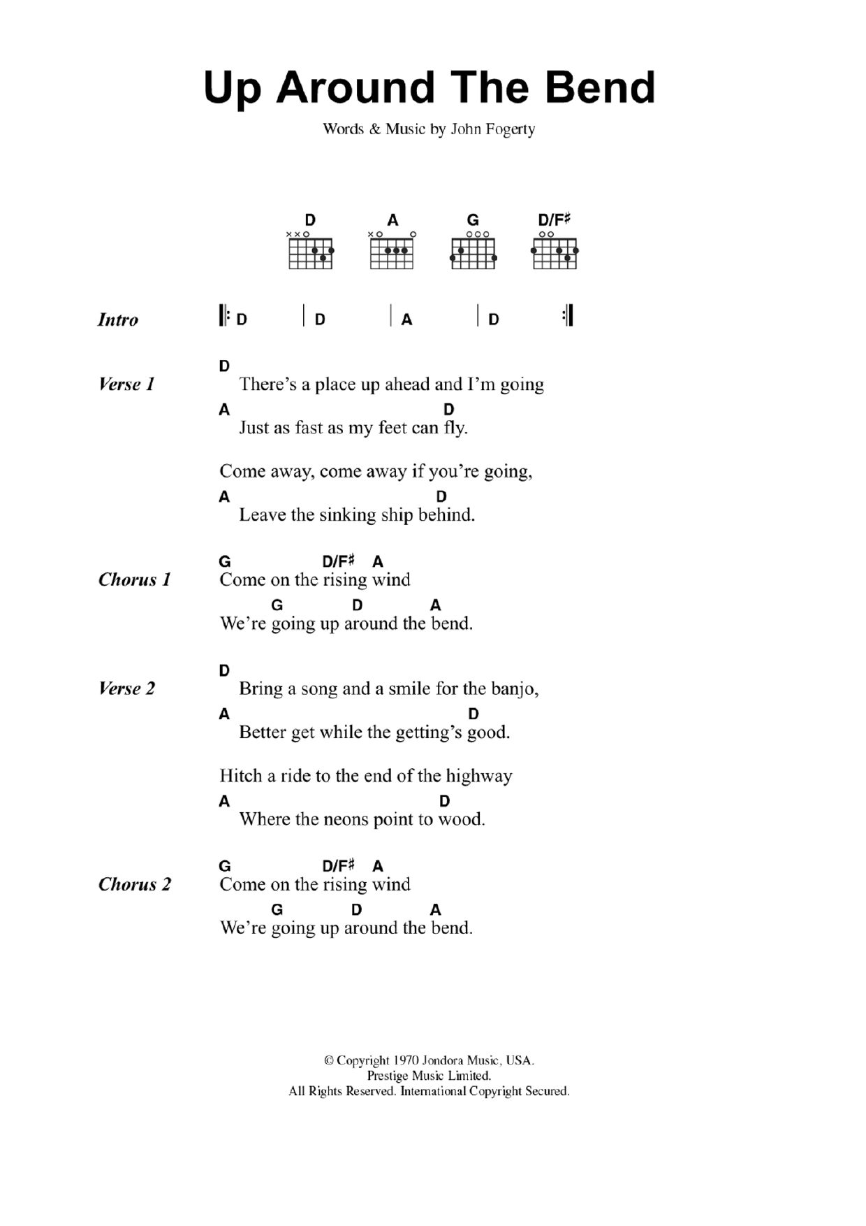 Up Around The Bendcreedence Clearwater Revival Guitar Chords Lyrics
