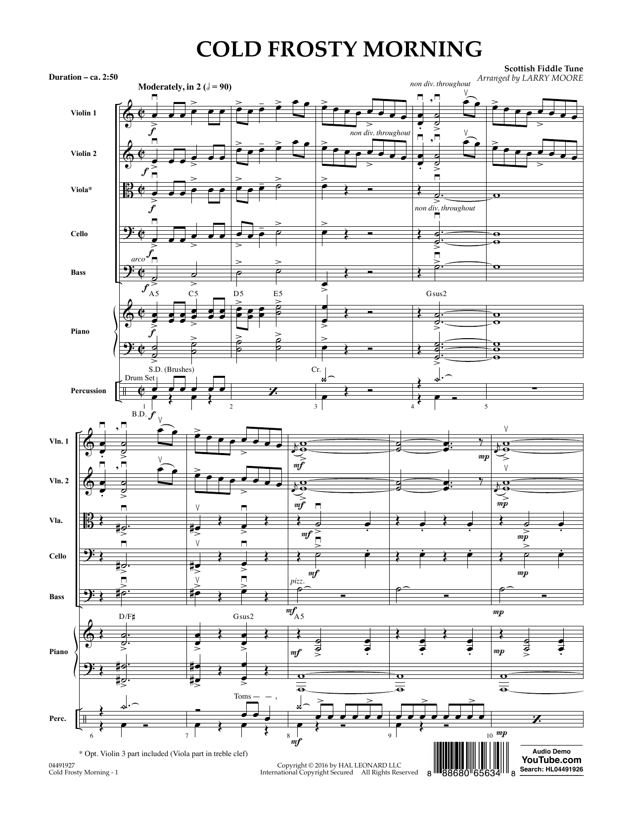 Cold Frosty Morning (COMPLETE) sheet music for orchestra by Scottish Fiddle Tune and Larry Moore. Score Image Preview.