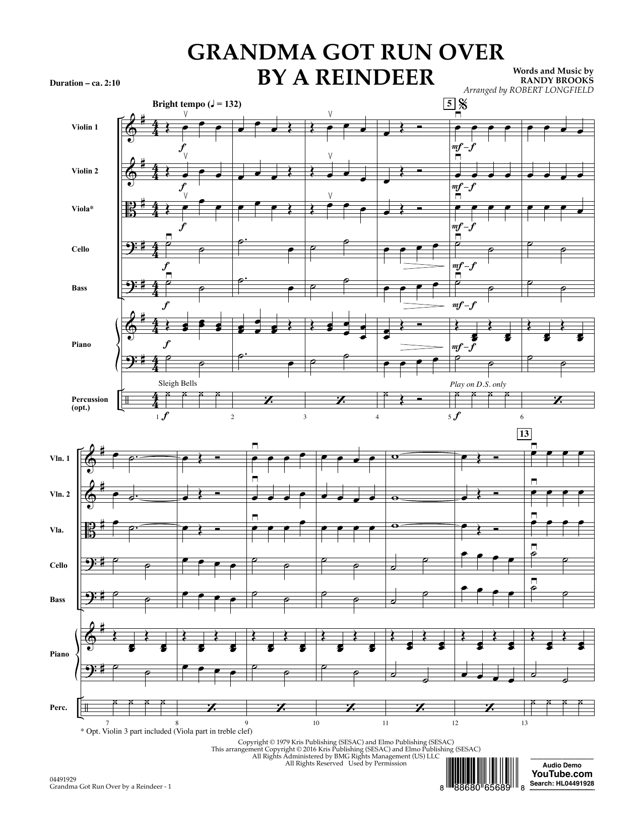 Grandma Got Run Over by a Reindeer (COMPLETE) sheet music for orchestra by Randy Brooks and Robert Longfield. Score Image Preview.