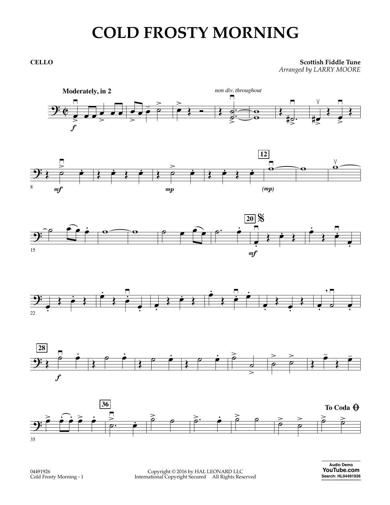Cold Frosty Morning - Cello Sheet Music