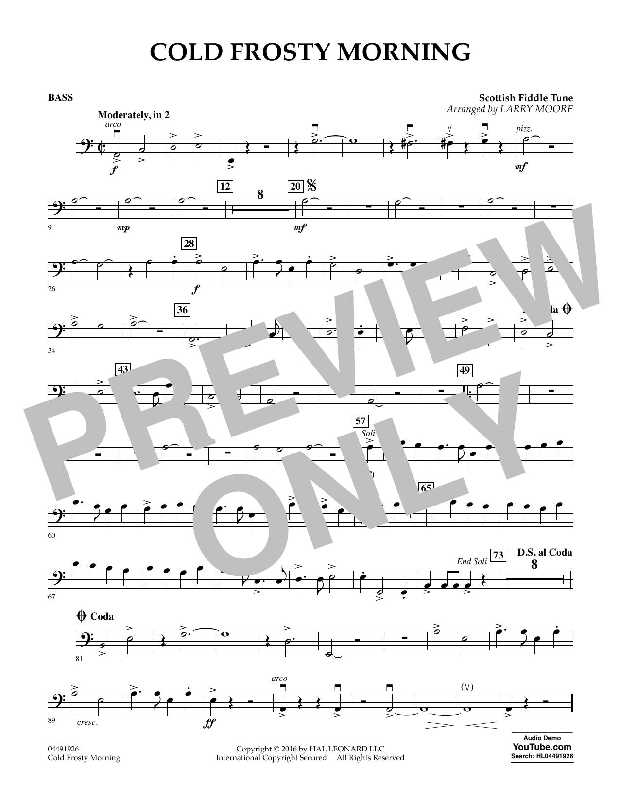 Cold Frosty Morning - Bass Sheet Music