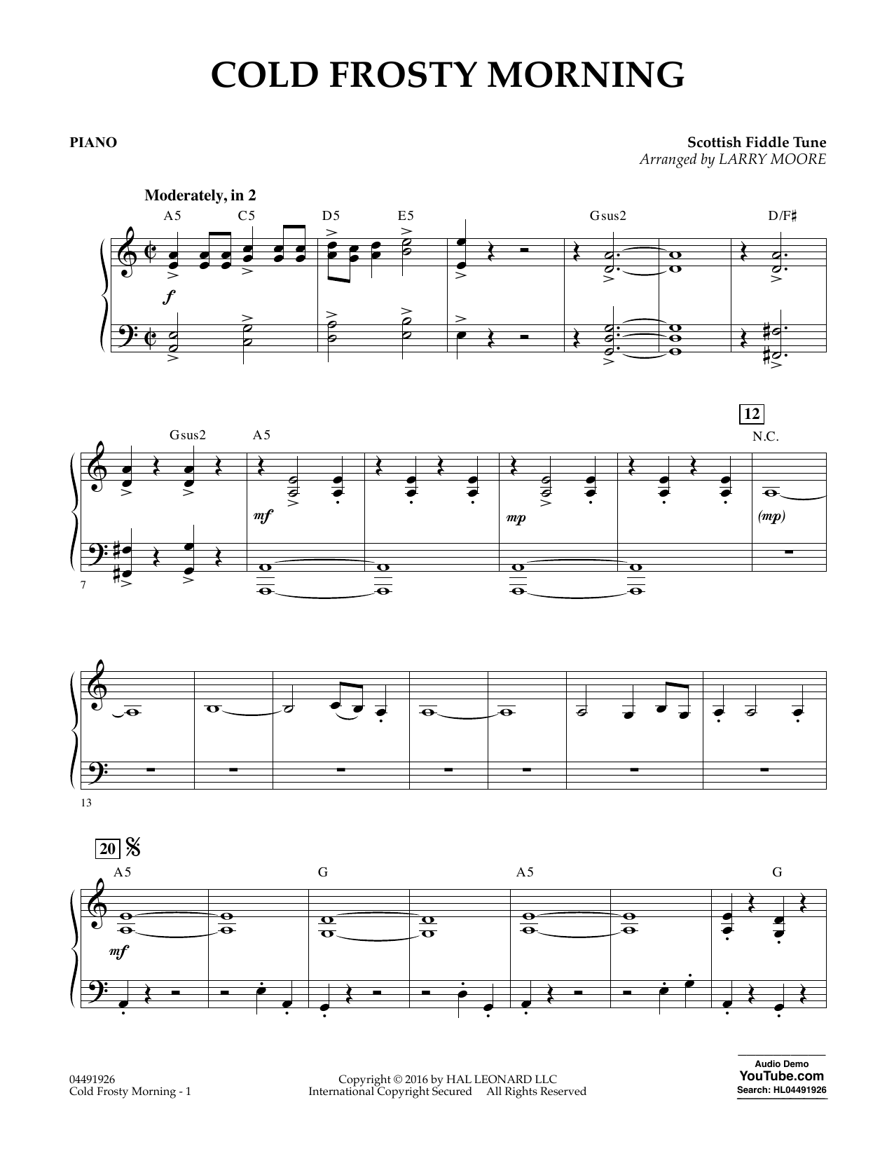 Cold Frosty Morning - Piano Sheet Music