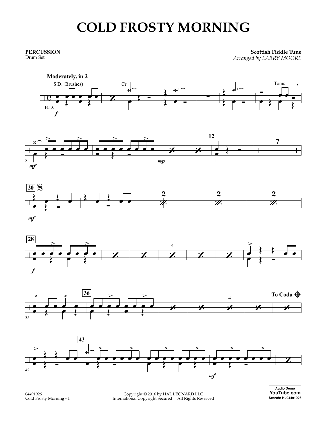 Cold Frosty Morning - Percussion Sheet Music