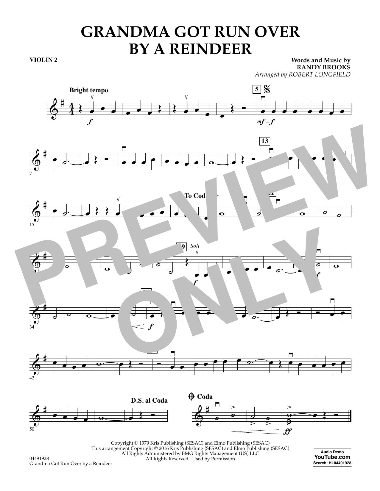 Grandma Got Run Over by a Reindeer - Violin 2 Sheet Music