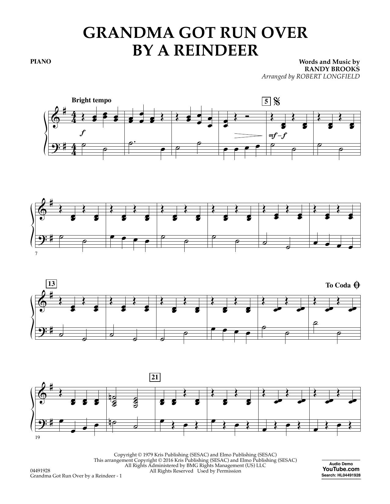 Grandma Got Run Over by a Reindeer - Piano Sheet Music