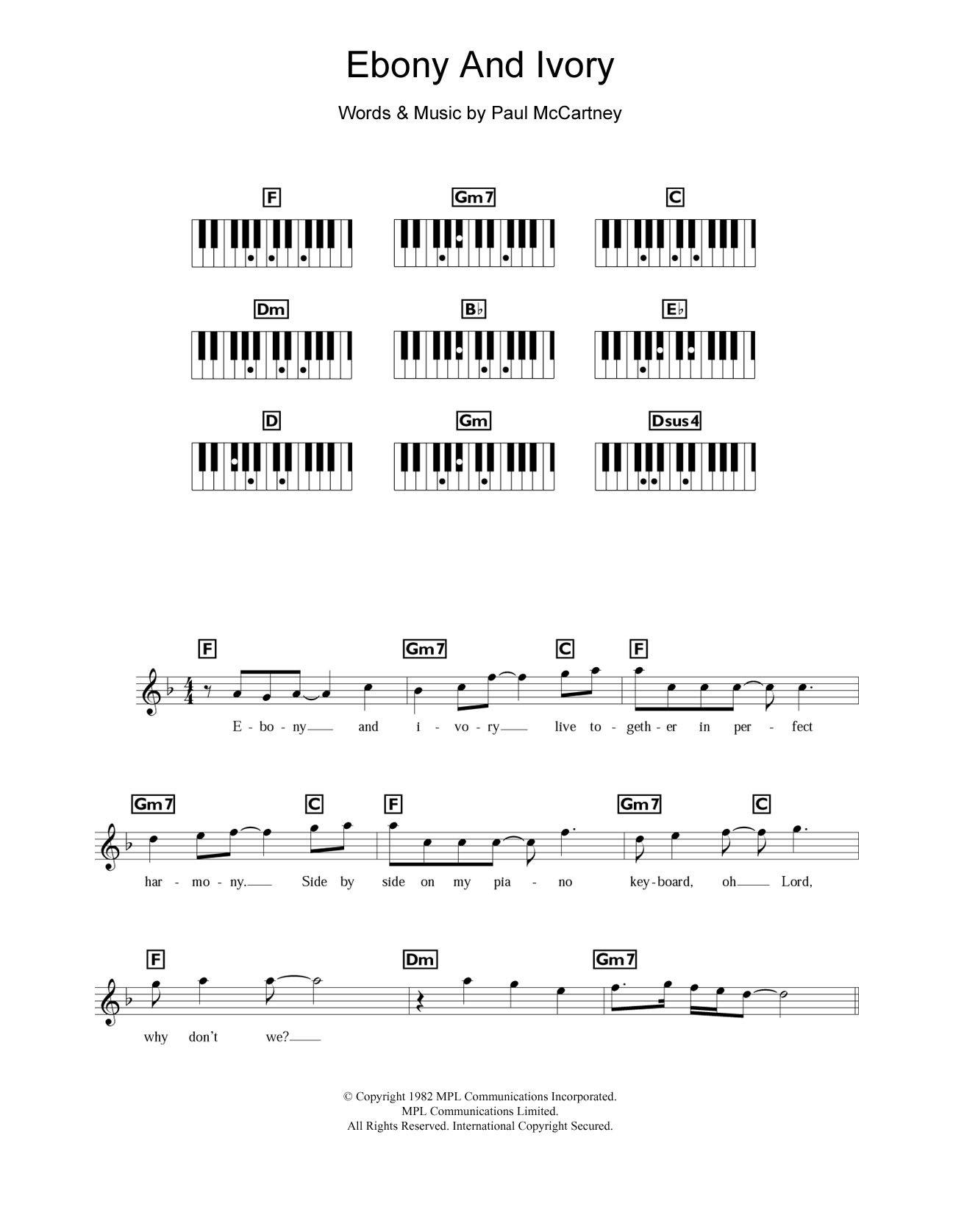 Ebony And Ivory Sheet Music