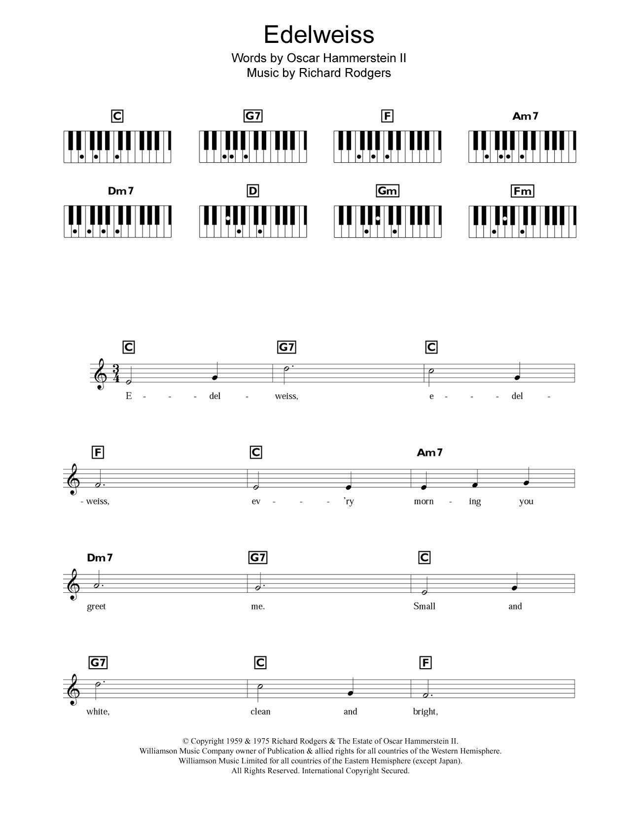 Edelweiss (Piano Chords/Lyrics)