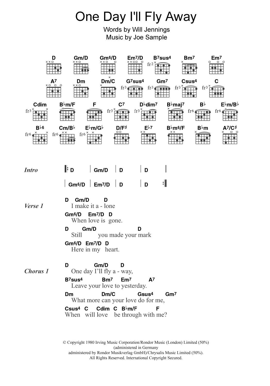 One Day Ill Fly Away By Randy Crawford Guitar Chordslyrics