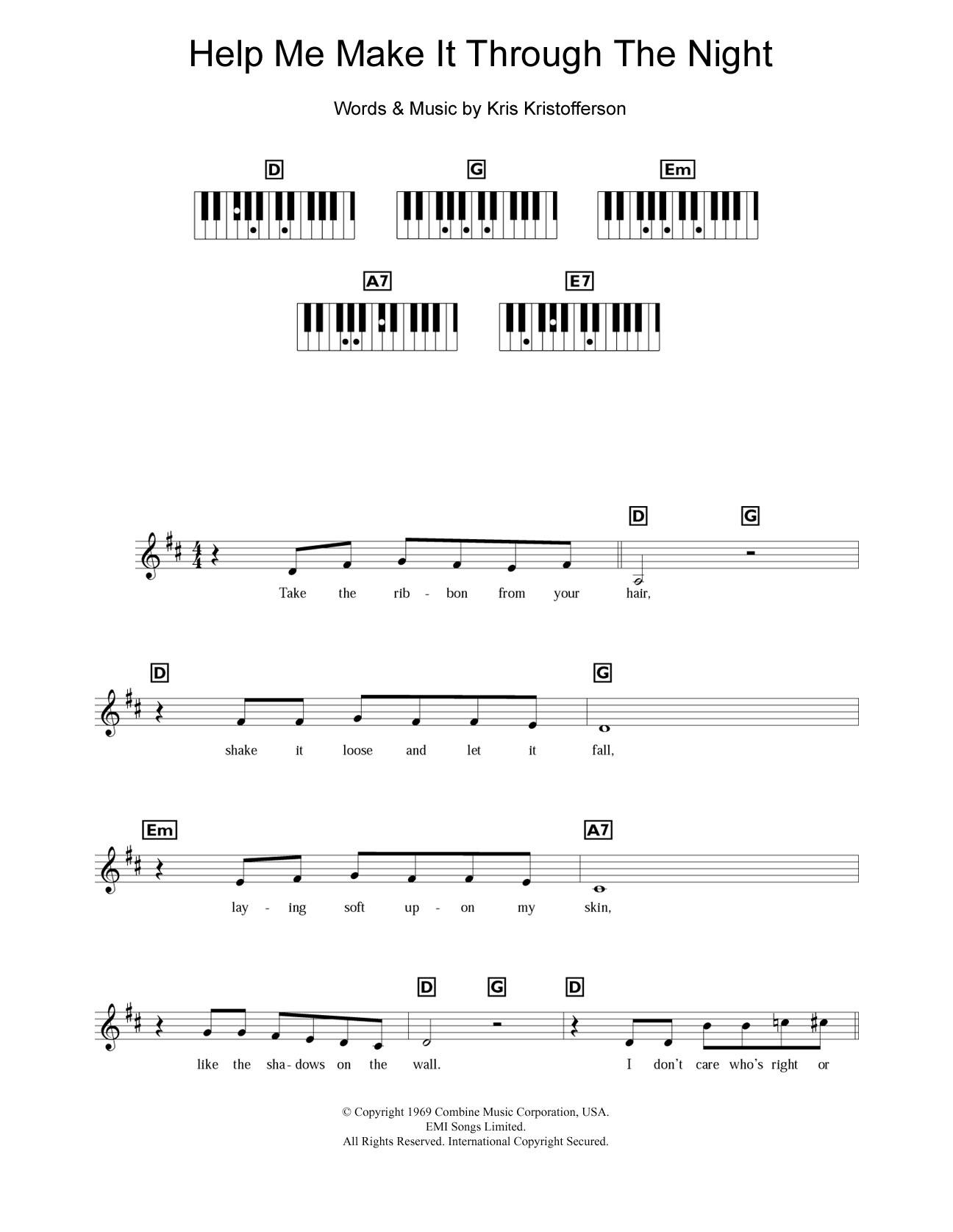 Help Me Make It Through The Night Sheet Music