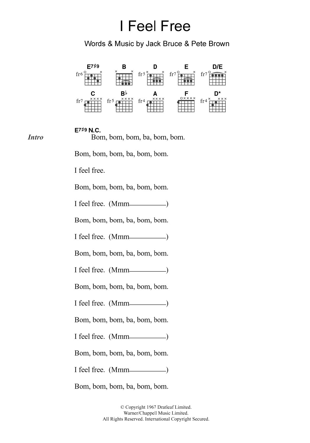 I Feel Free by Cream Piano, Vocal & Guitar Right Hand Melody Digital  Sheet Music