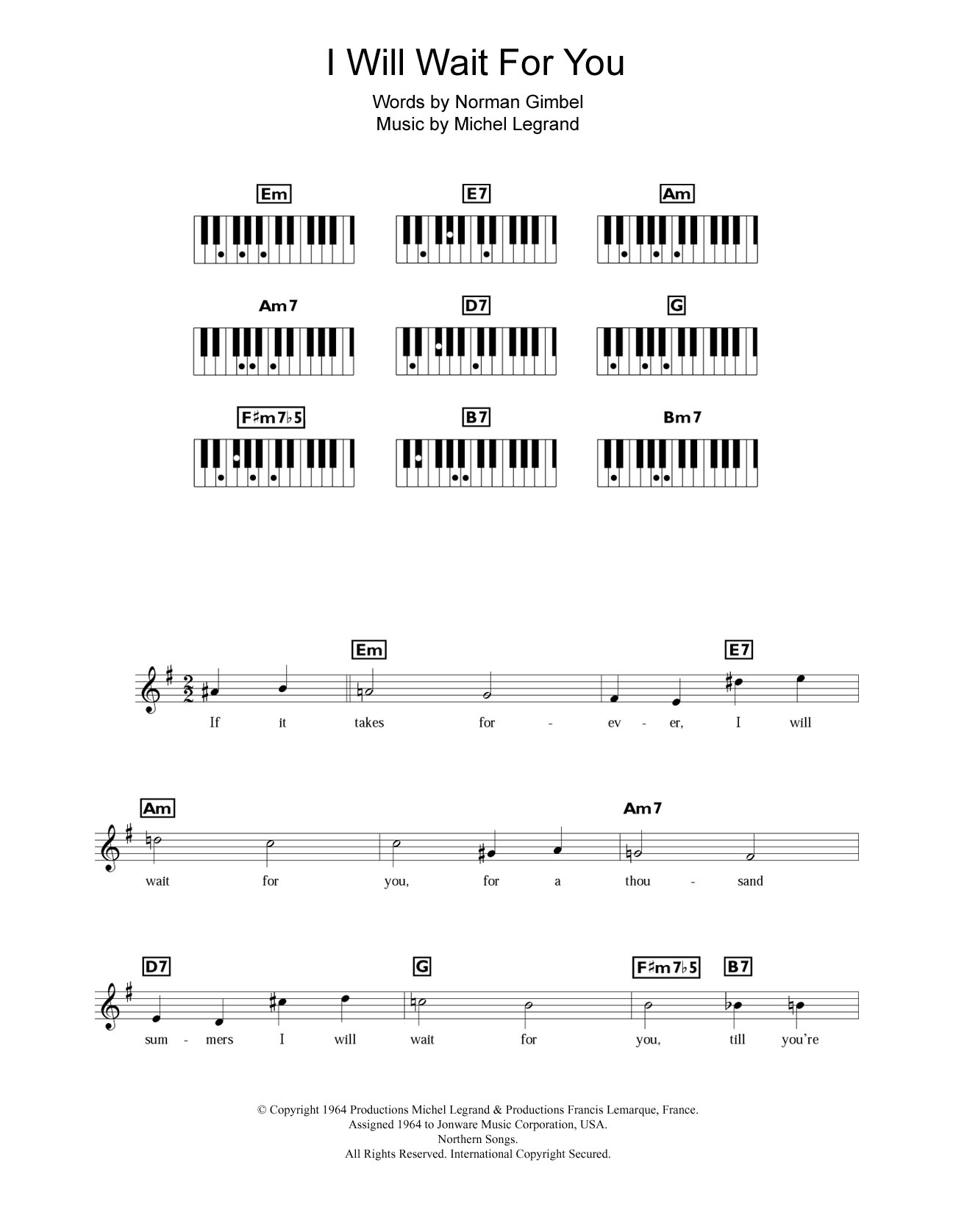 I Will Wait For You Sheet Music