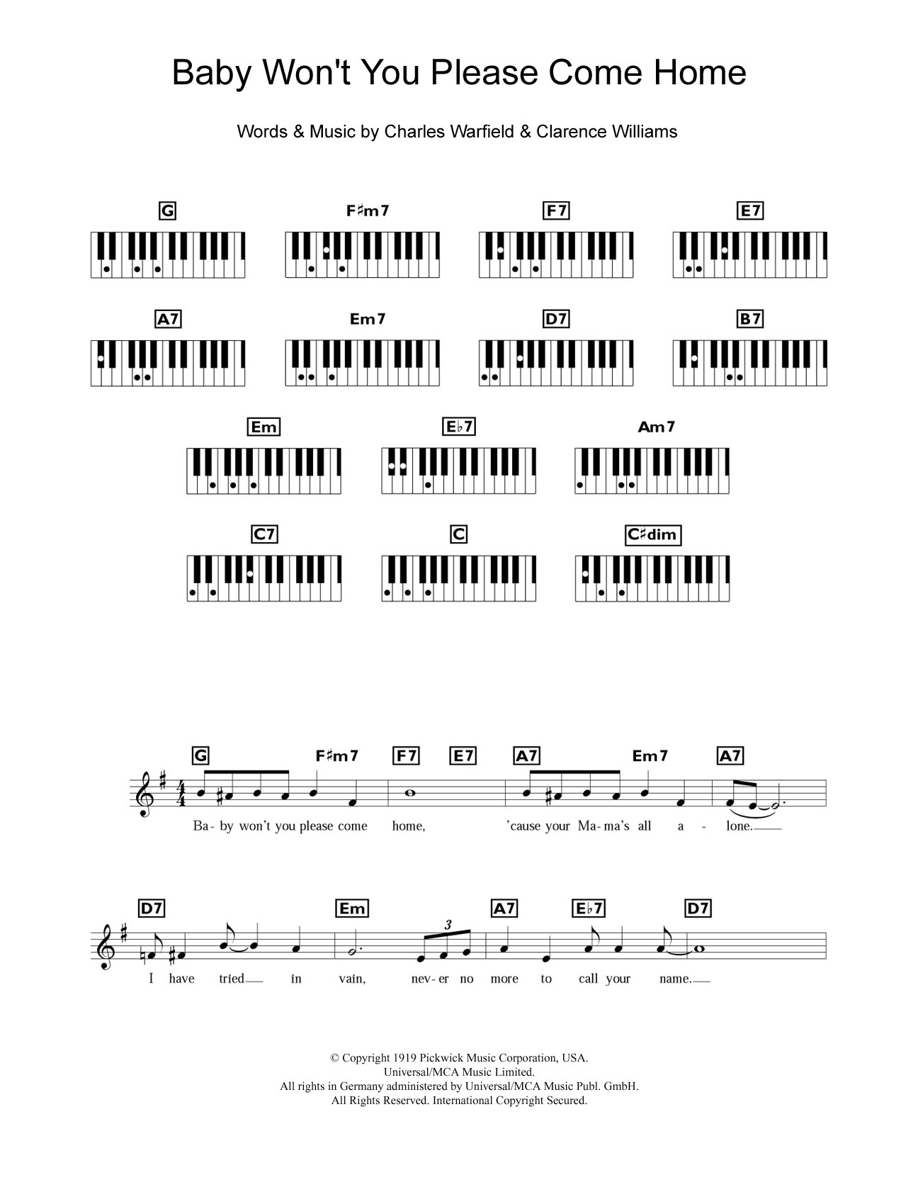 Baby Won't You Please Come Home Sheet Music