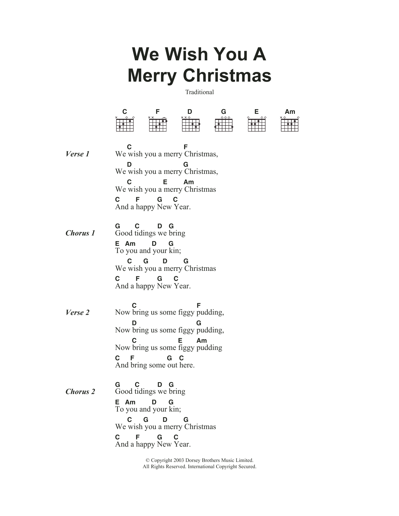 We Wish You A Merry Christmas By Traditional Carol Guitar Chords