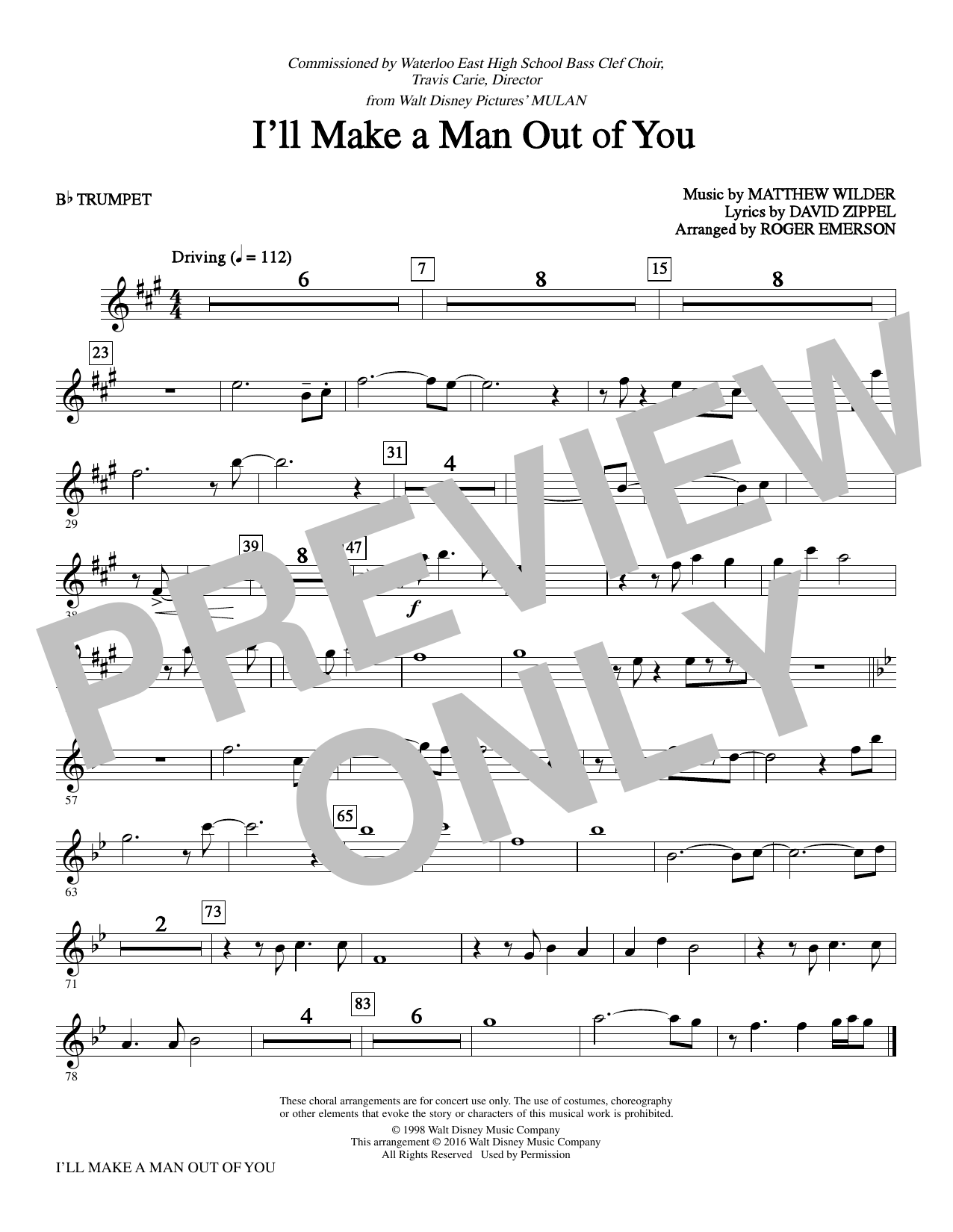I'll Make a Man out of You (complete set of parts) sheet music for orchestra/band by Matthew Wilder, David Zippel and Roger Emerson. Score Image Preview.