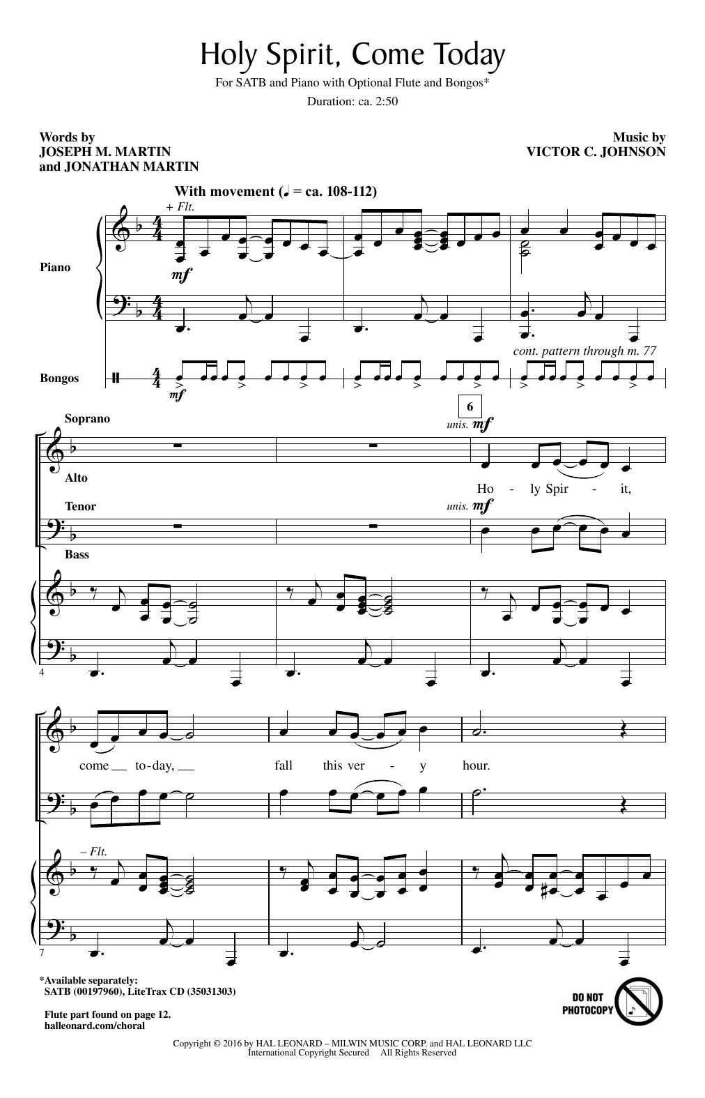 Holy Spirit, Come Today (SATB Choir)