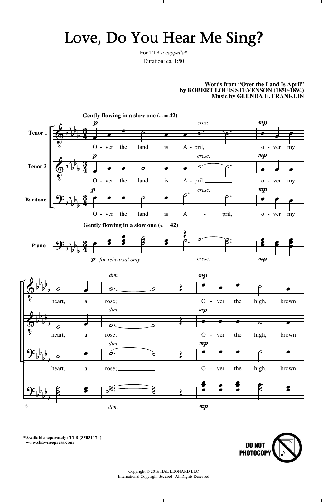 Love, Do You Hear Me Sing? Sheet Music