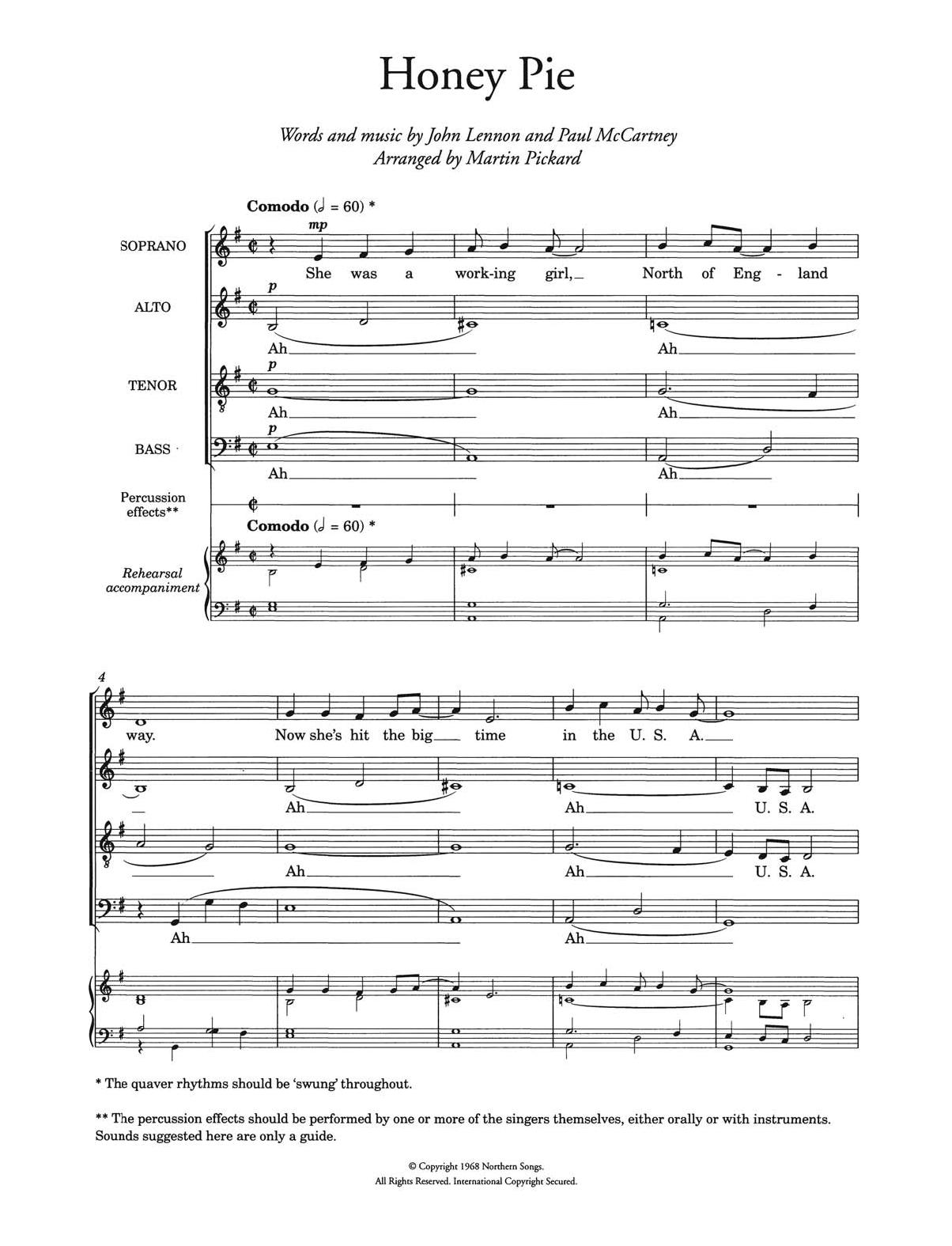 Honey Pie (arr. Martin Pickard) Sheet Music