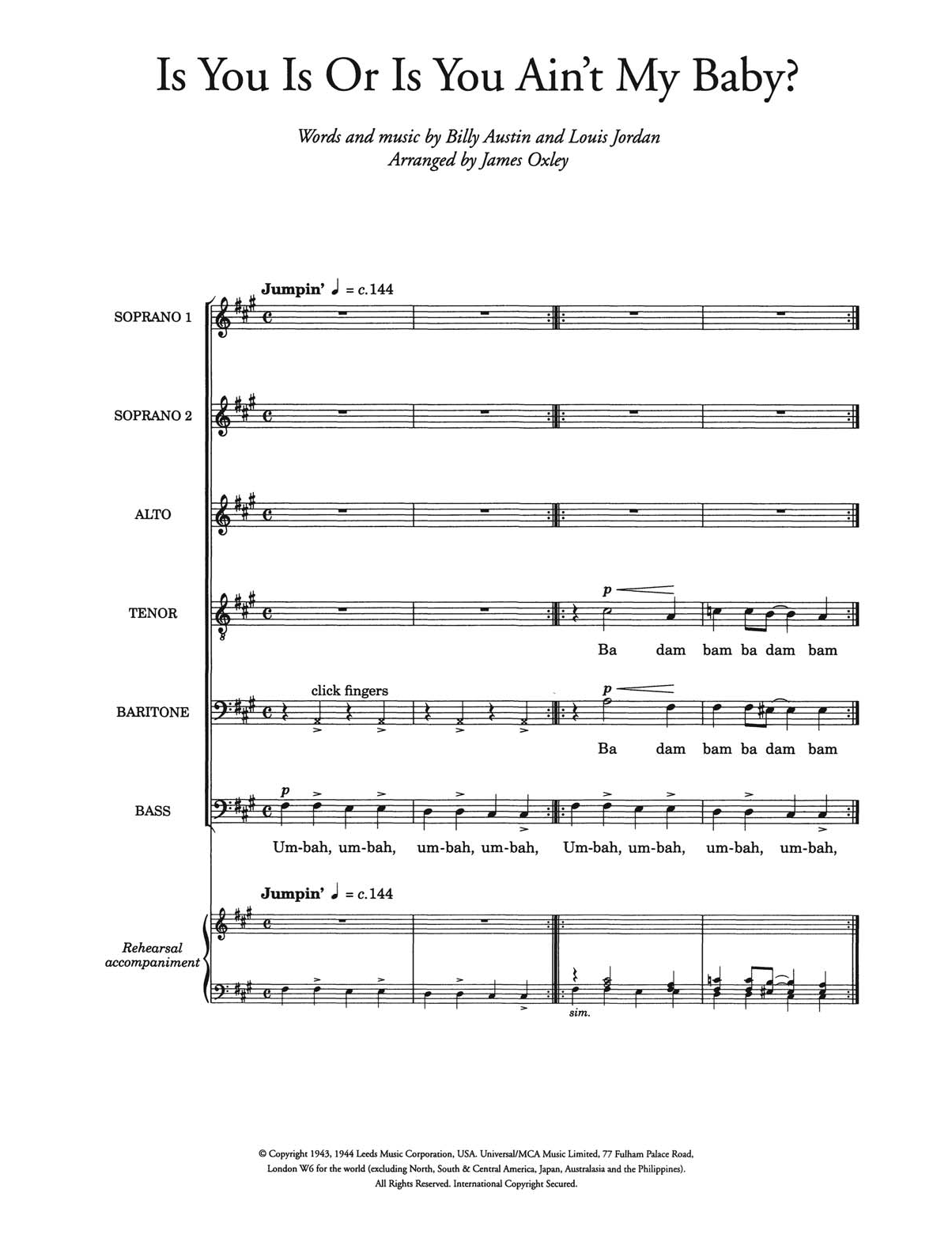 Is You Is, Or Is You Ain't (Ma' Baby) (arr. James Oxley) Sheet Music