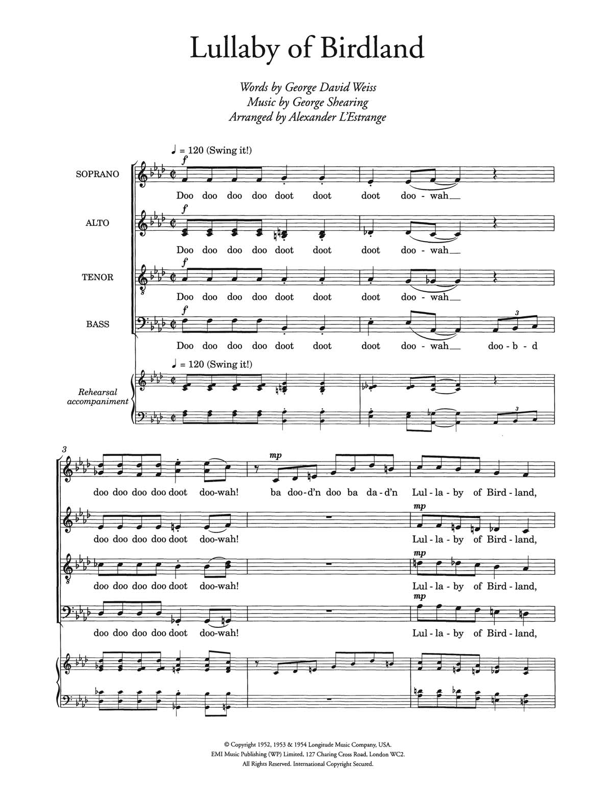 Lullaby Of Birdland (arr. Alexander L'Estrange) Sheet Music