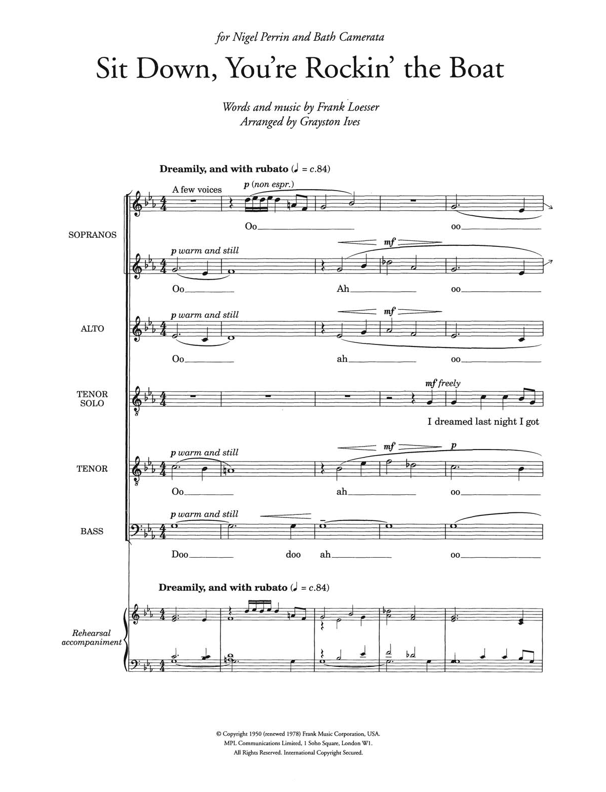 Sit Down, You're Rockin' The Boat (from 'Guys and Dolls') (arr. Grayston Ives) Sheet Music