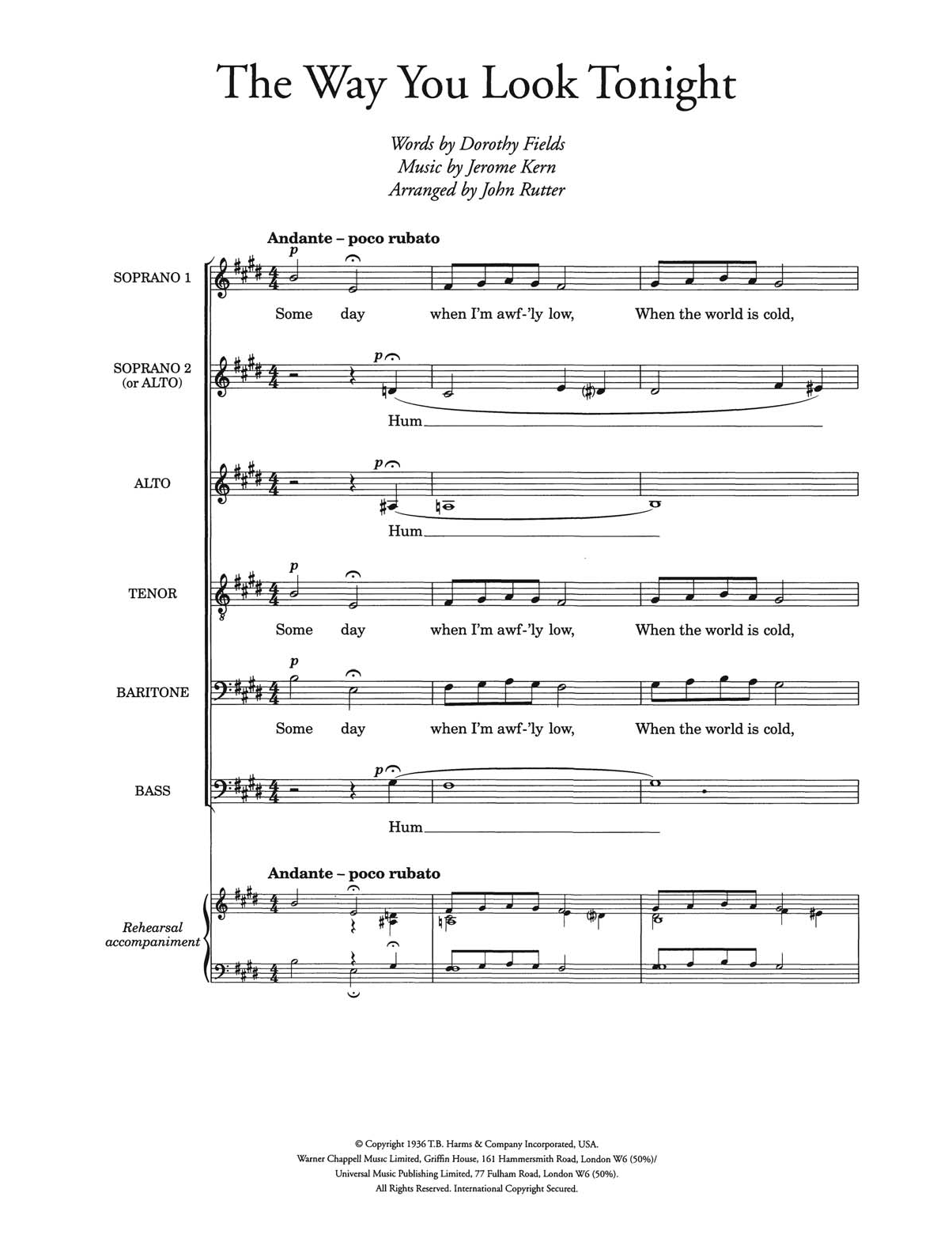 The Way You Look Tonight (arr. John Rutter) Digitale Noten