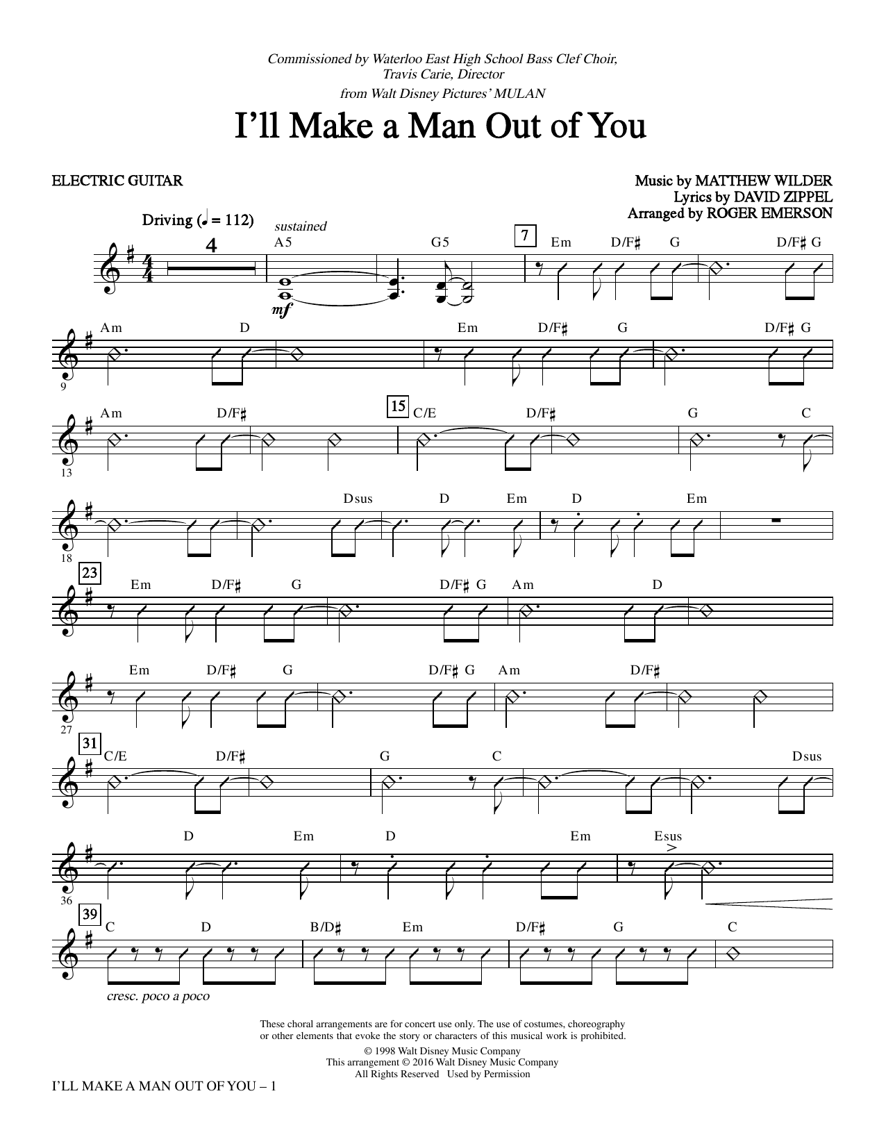 I'll Make a Man out of You - Guitar Sheet Music