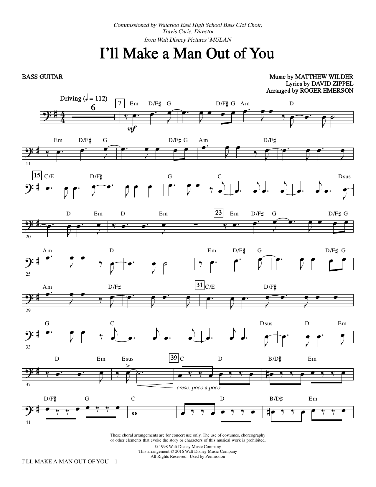 I'll Make a Man out of You - Bass Sheet Music
