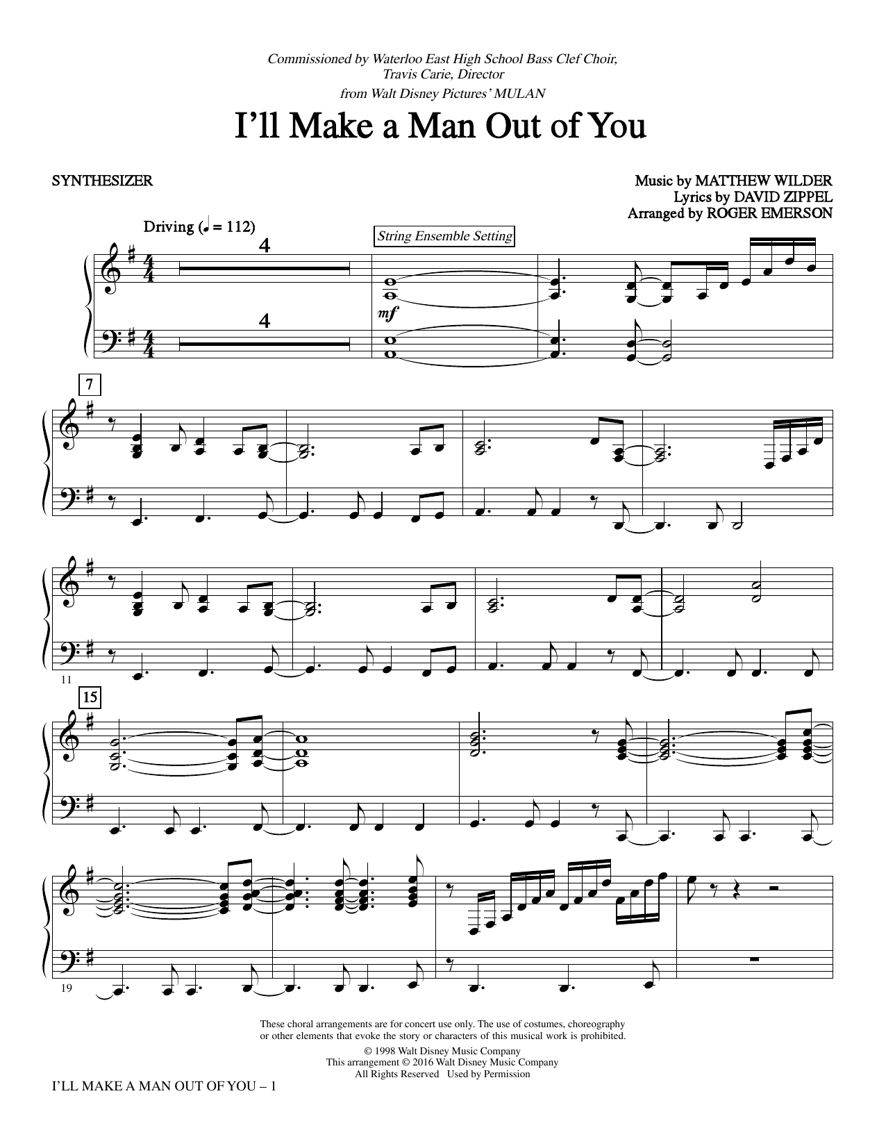 I'll Make a Man out of You - Synthesizer Sheet Music