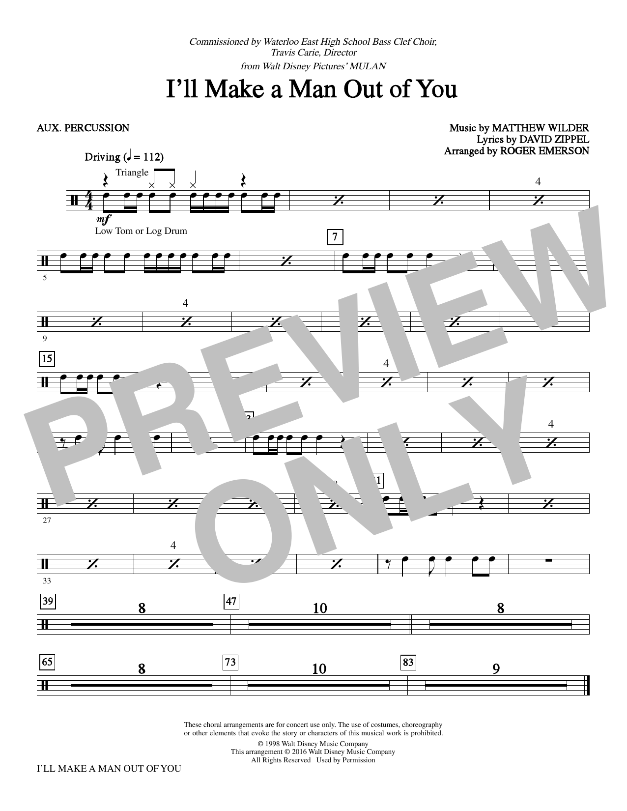 I'll Make a Man out of You - Percussion Sheet Music