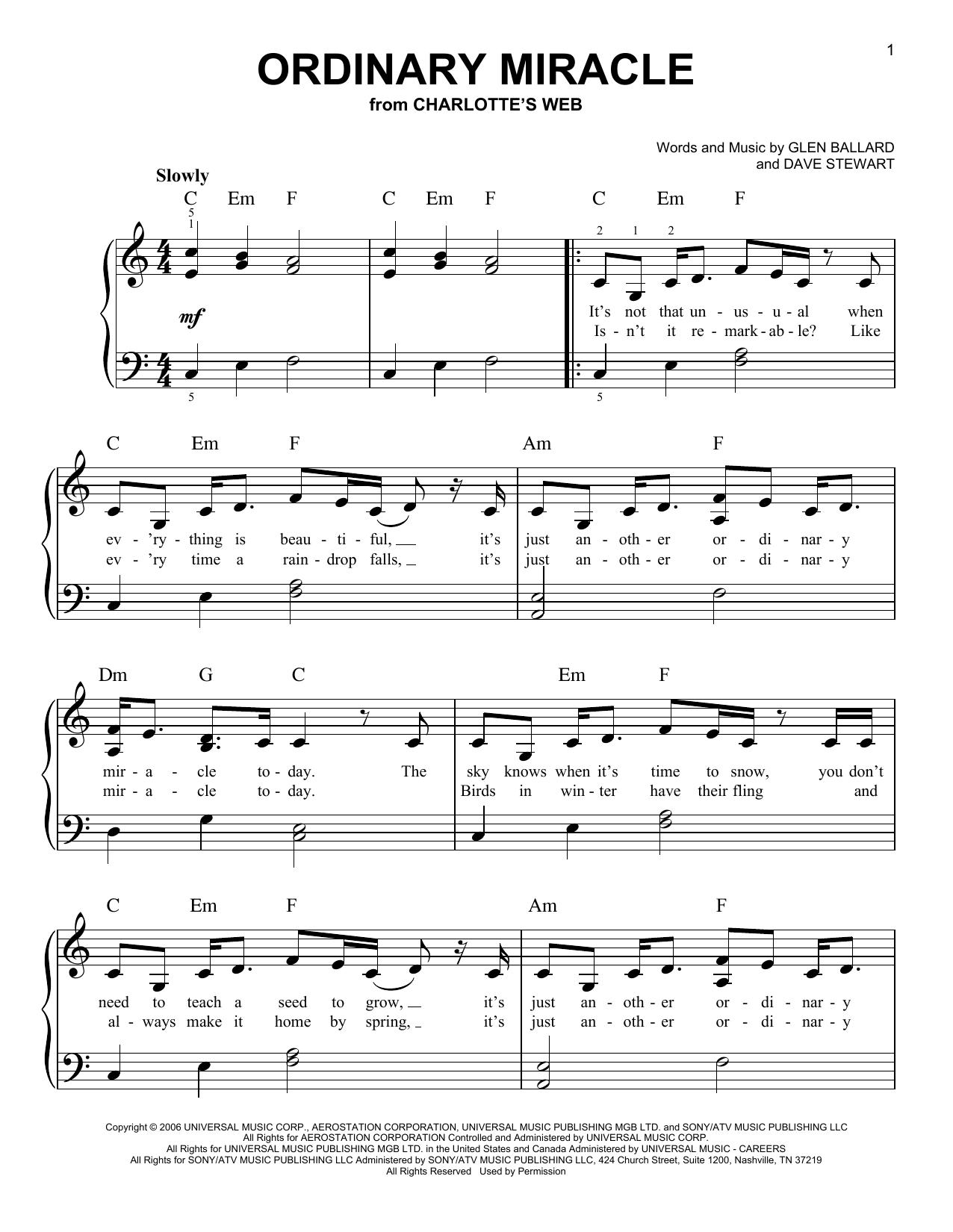 Ordinary Miracle (Easy Piano)