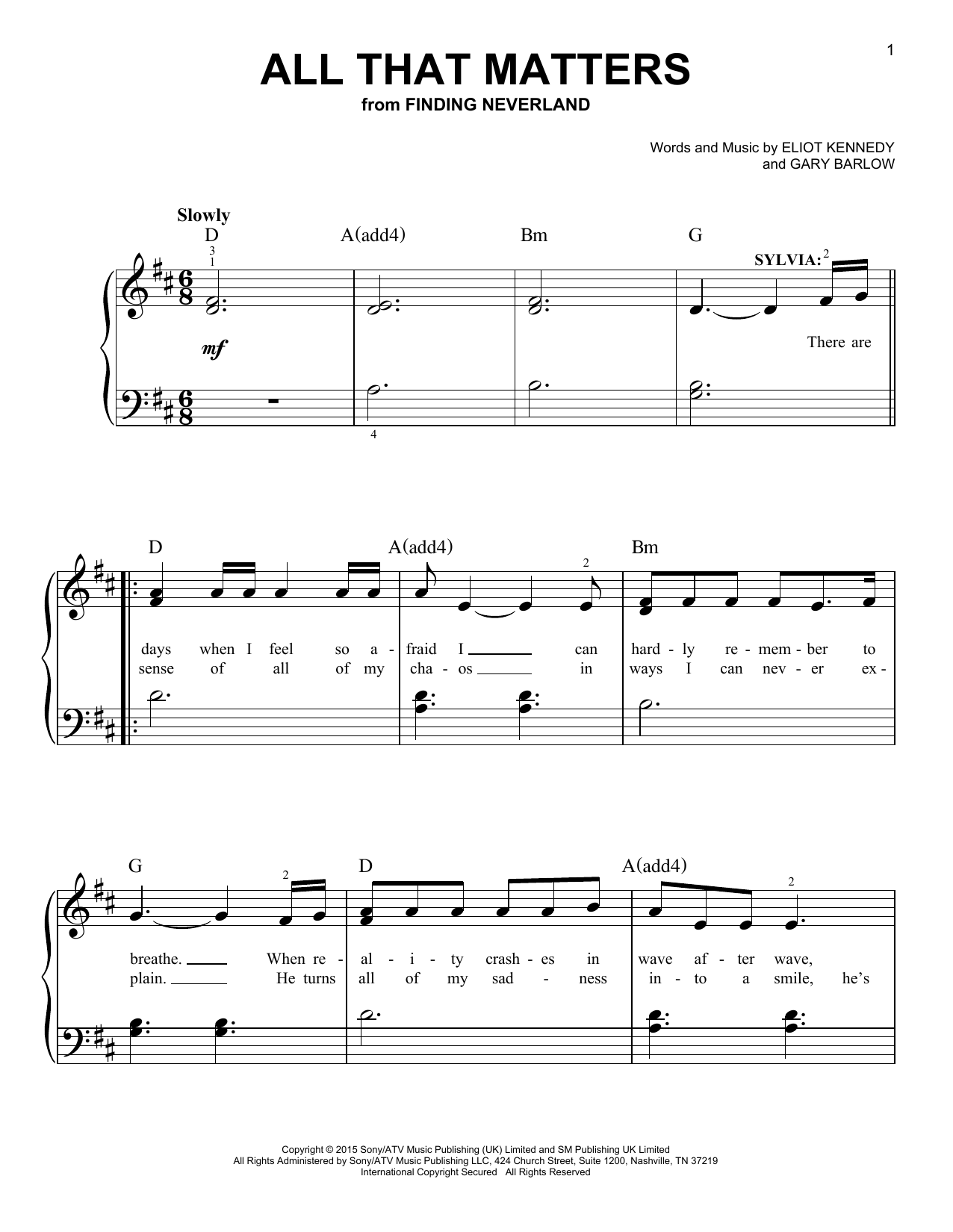 All That Matters (from 'Finding Neverland') (Easy Piano)