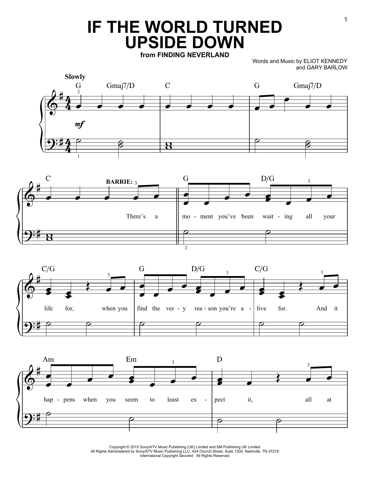 If The World Turned Upside Down (from 'Finding Neverland') (Easy Piano)