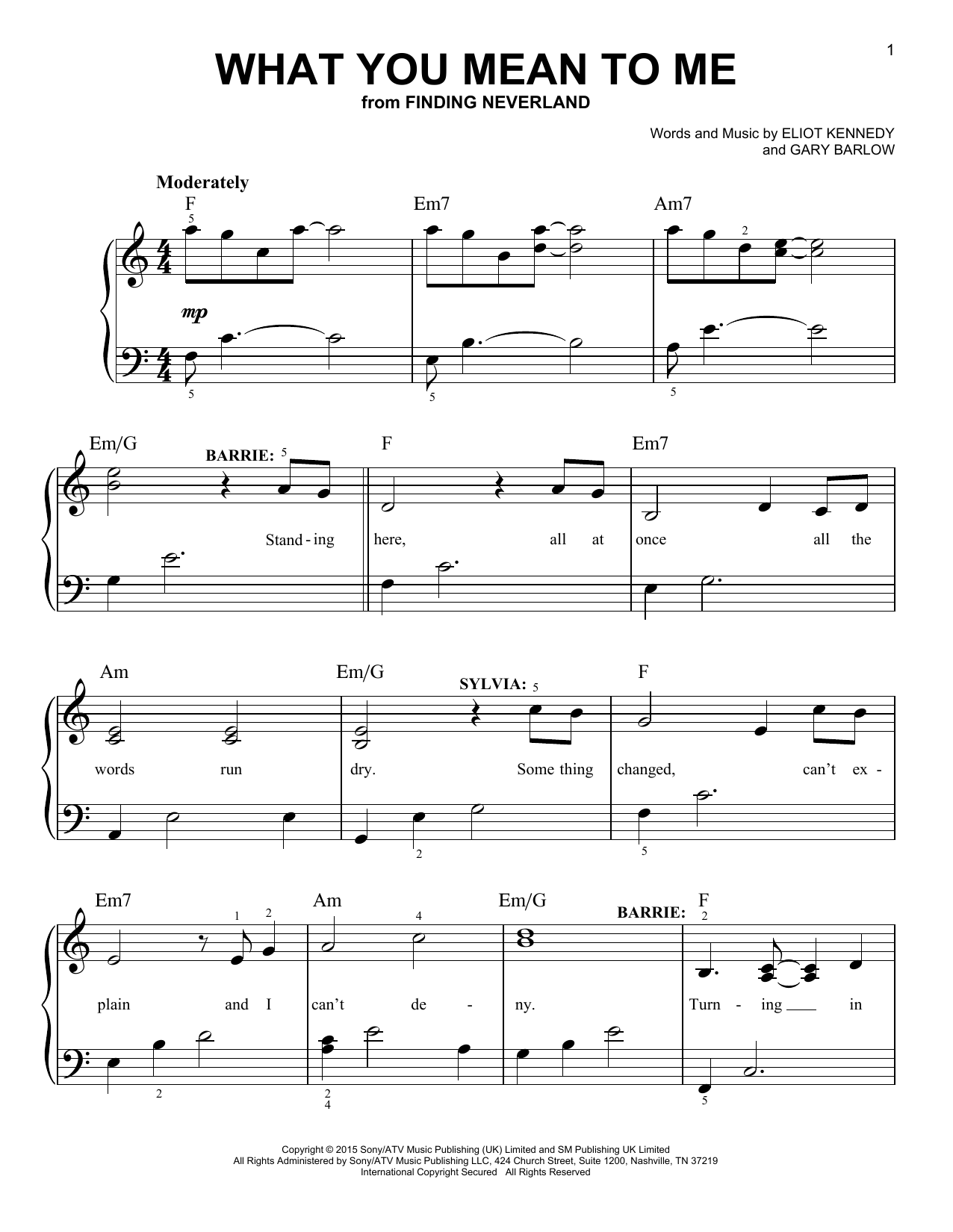 What You Mean To Me (from 'Finding Neverland') (Easy Piano)