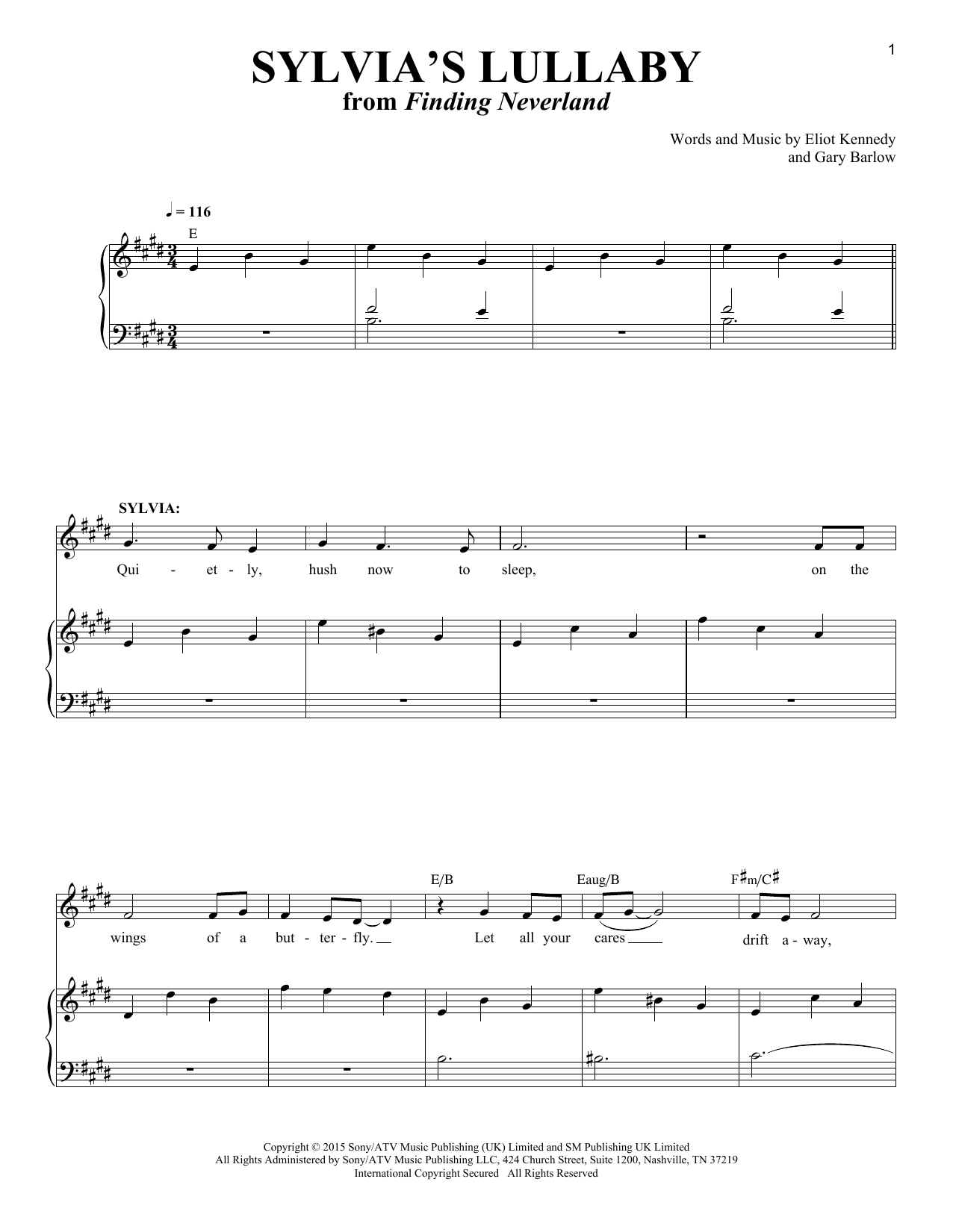 page one of Sylvia's Lullaby (from 'Finding Neverland')ASALTTEXT