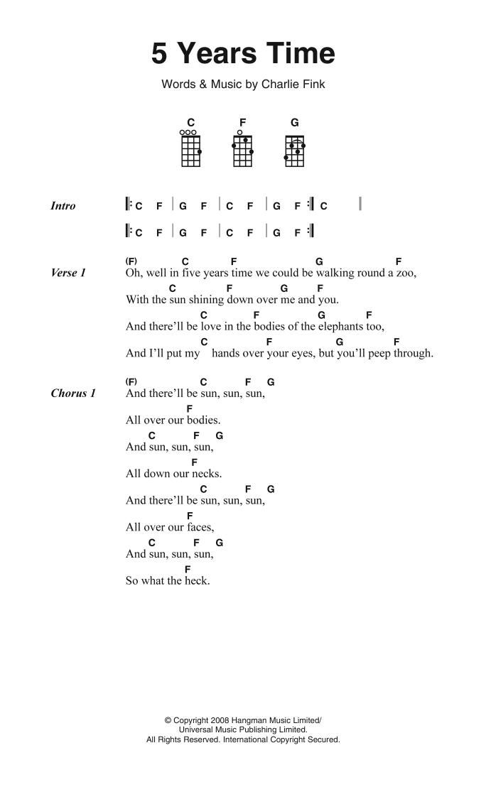 5 Years Time Sheet Music Noah And The Whale Ukulele Lyrics Chords