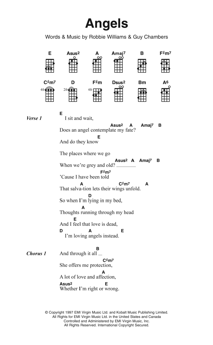 Angels | Robbie Williams | Ukulele Lyrics & Chords