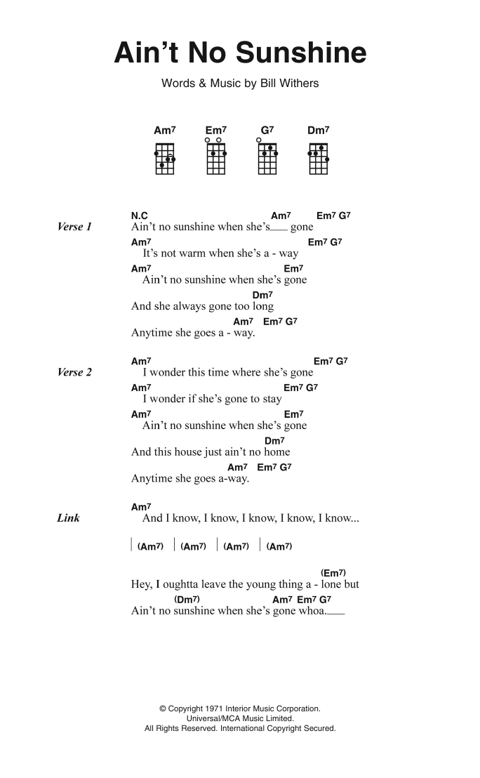Aint No Sunshine Sheet Music Bill Withers Ukulele Lyrics Chords