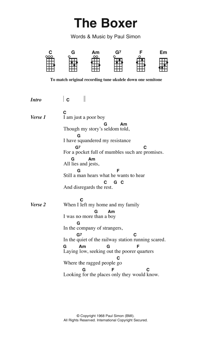 The Boxer | Simon & Garfunkel | Ukulele Lyrics & Chords