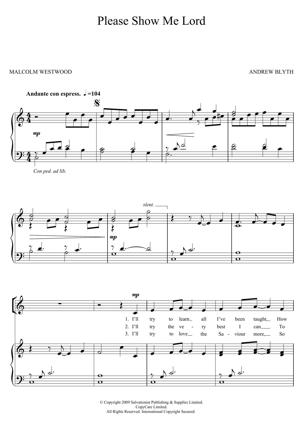Please Show Me Lord Sheet Music