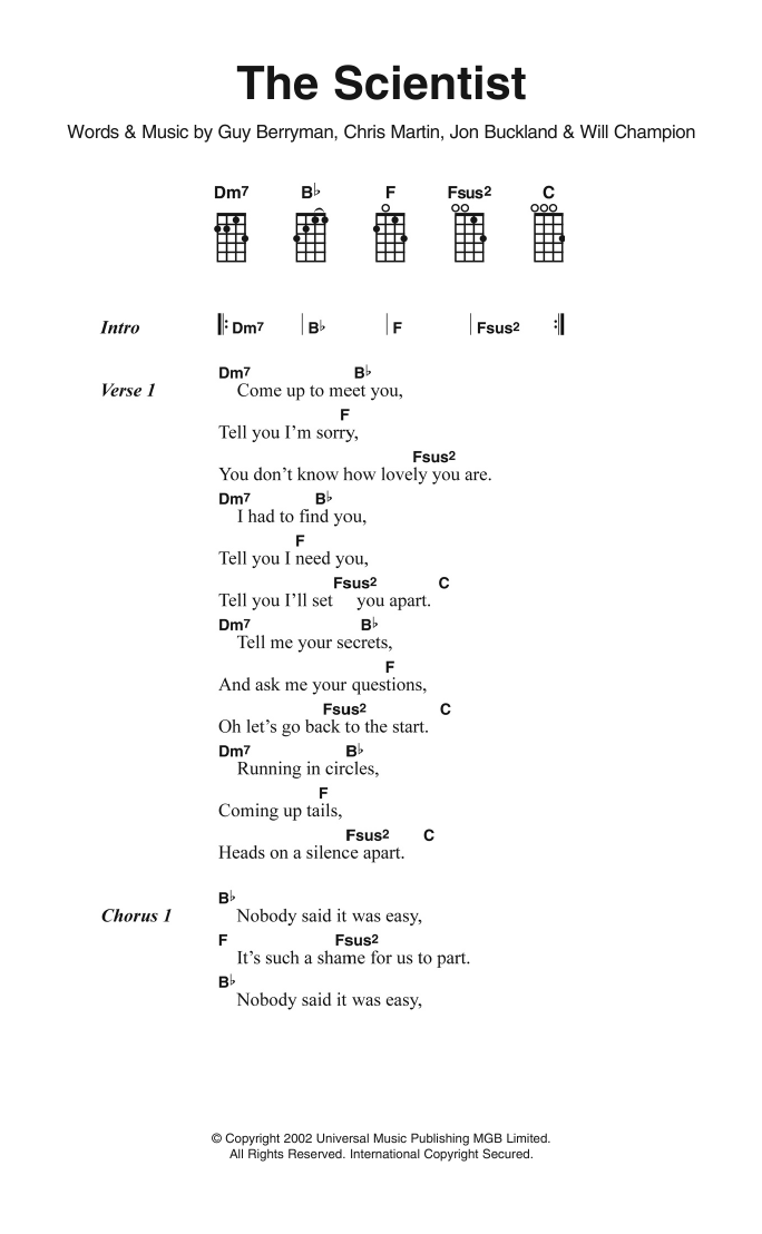The Scientist Sheet Music Coldplay Ukulele Lyrics Chords