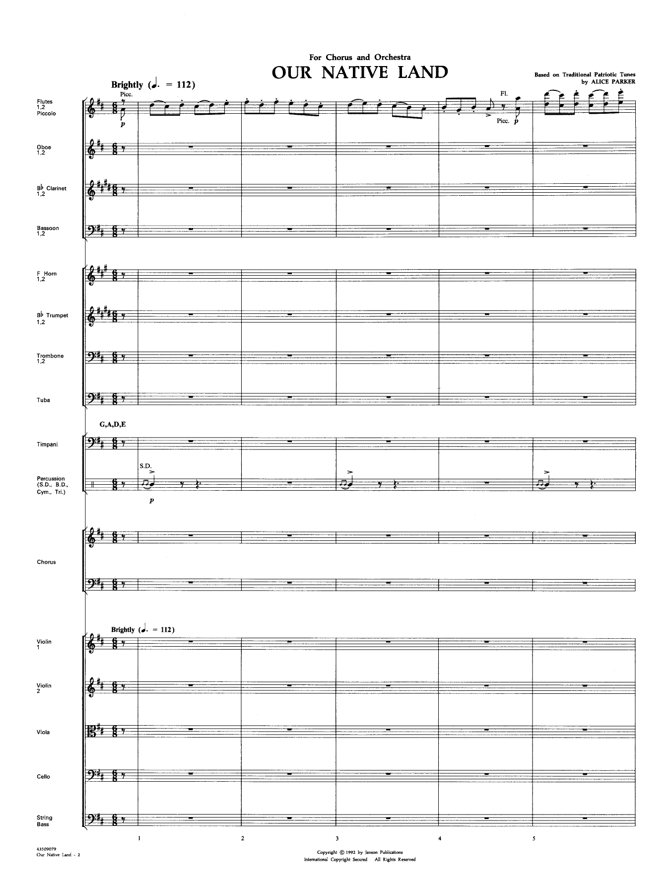 Our Native Land - Score Sheet Music